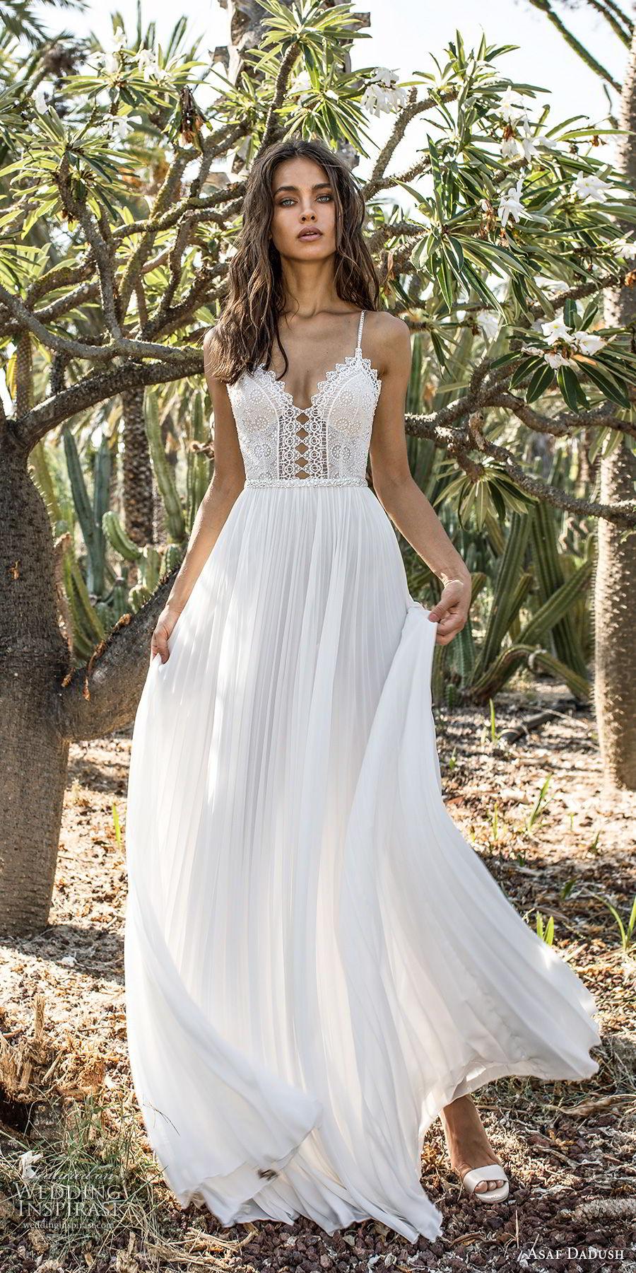 asaf dadush 2018 bridal spaghetti strap sweetheart neckline heavily embellished bodice pleated skirt romantic soft a  line wedding dress open back sweep train (6) mv