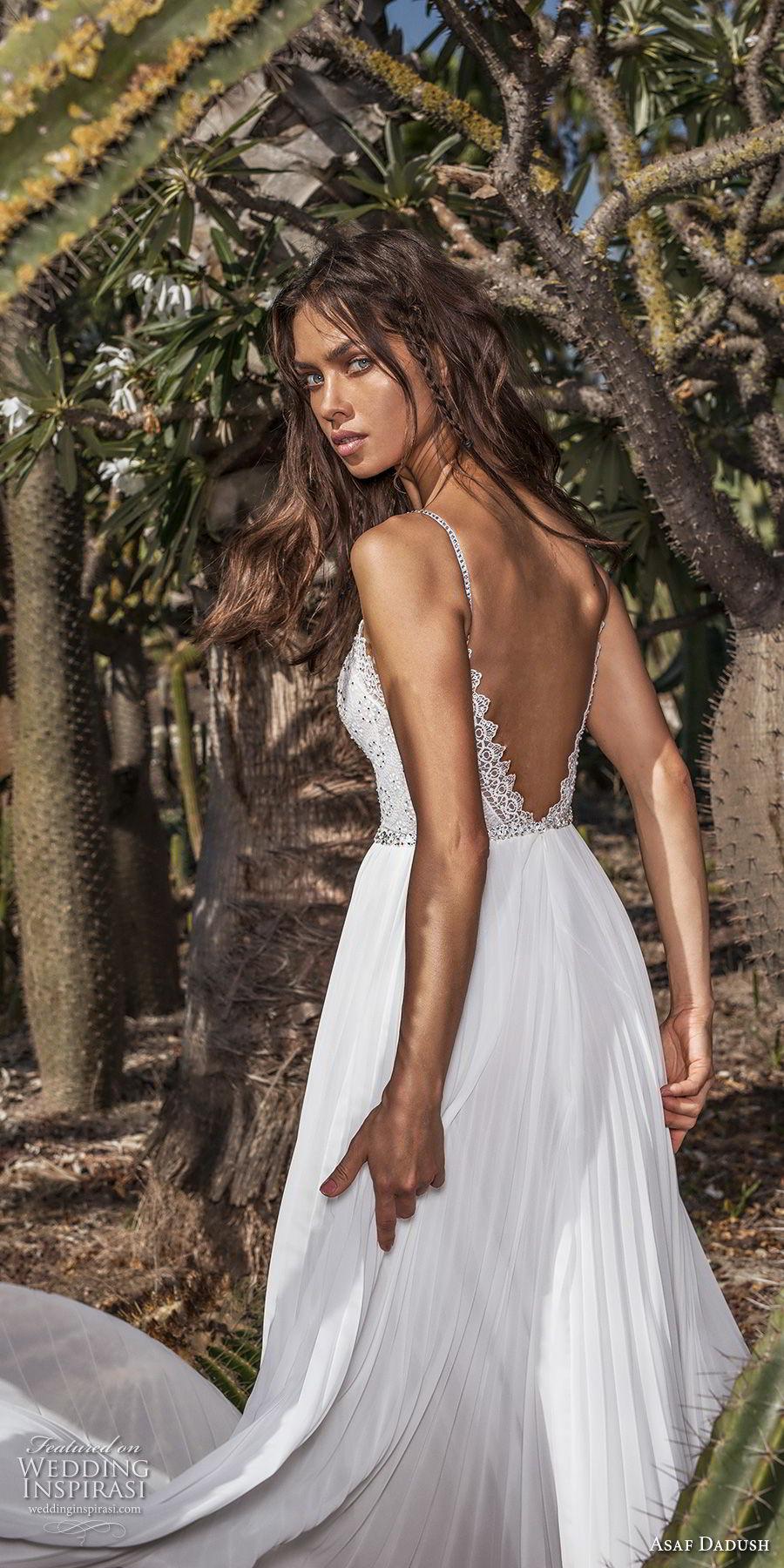 asaf dadush 2018 bridal spaghetti strap sweetheart neckline heavily embellished bodice pleated skirt romantic soft a  line wedding dress open back sweep train (6) zbv
