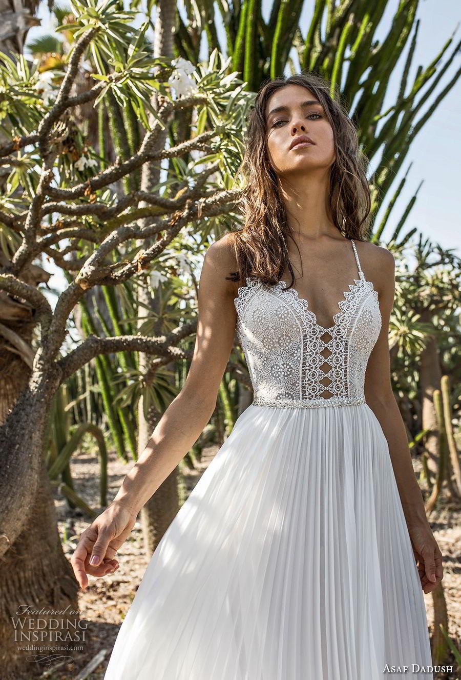 asaf dadush 2018 bridal spaghetti strap sweetheart neckline heavily embellished bodice pleated skirt romantic soft a  line wedding dress open back sweep train (6) zv