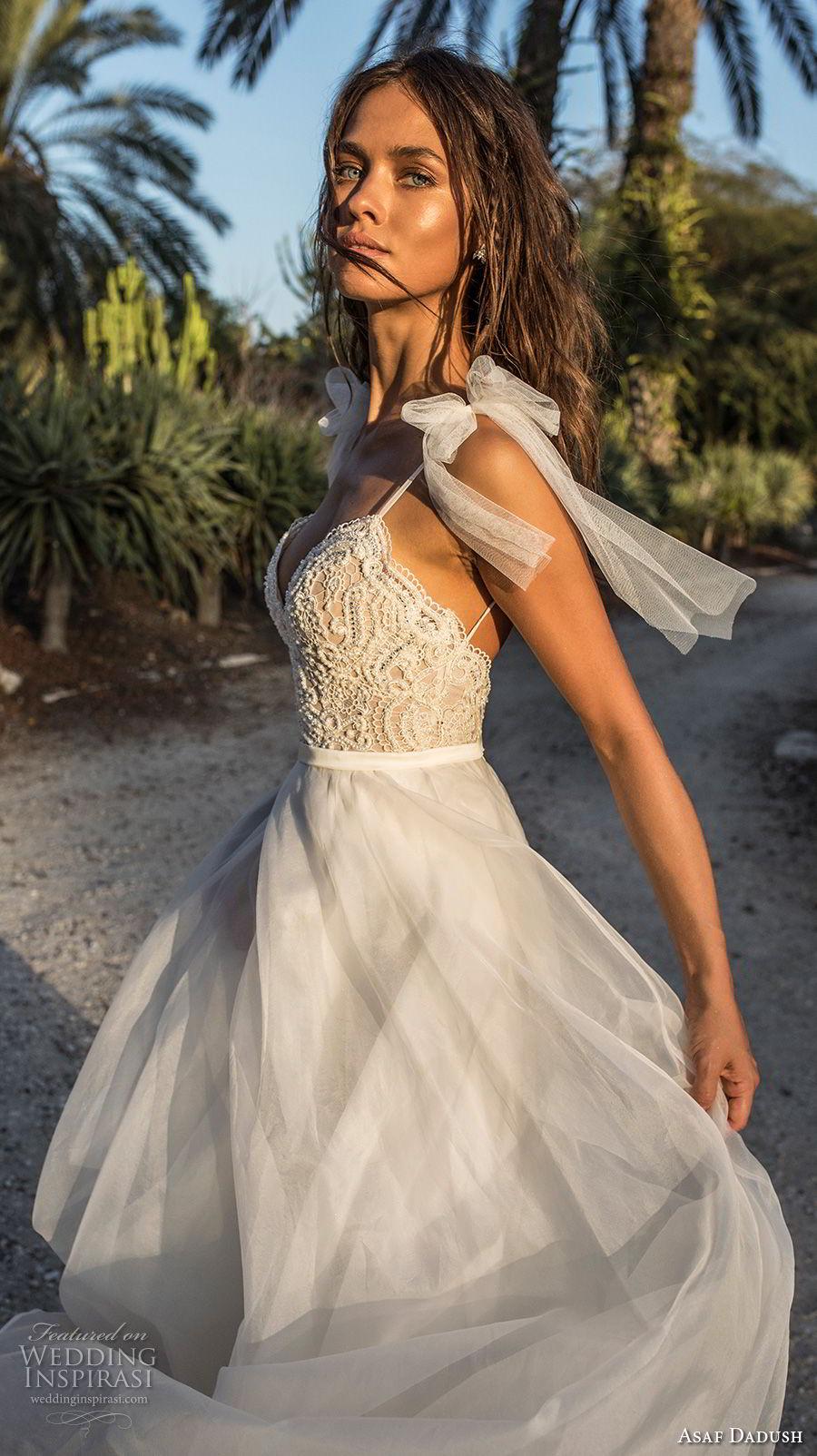 asaf dadush 2018 bridal spaghetti strap sweetheart neckline heavily embellished bodice romantic a  line wedding dress open back sweep train (3) sdv