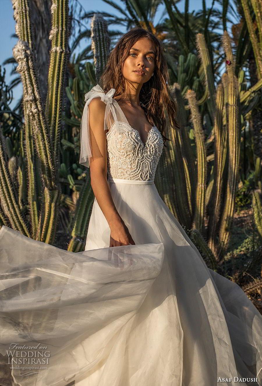 asaf dadush 2018 bridal spaghetti strap sweetheart neckline heavily embellished bodice romantic a  line wedding dress open back sweep train (3) zv