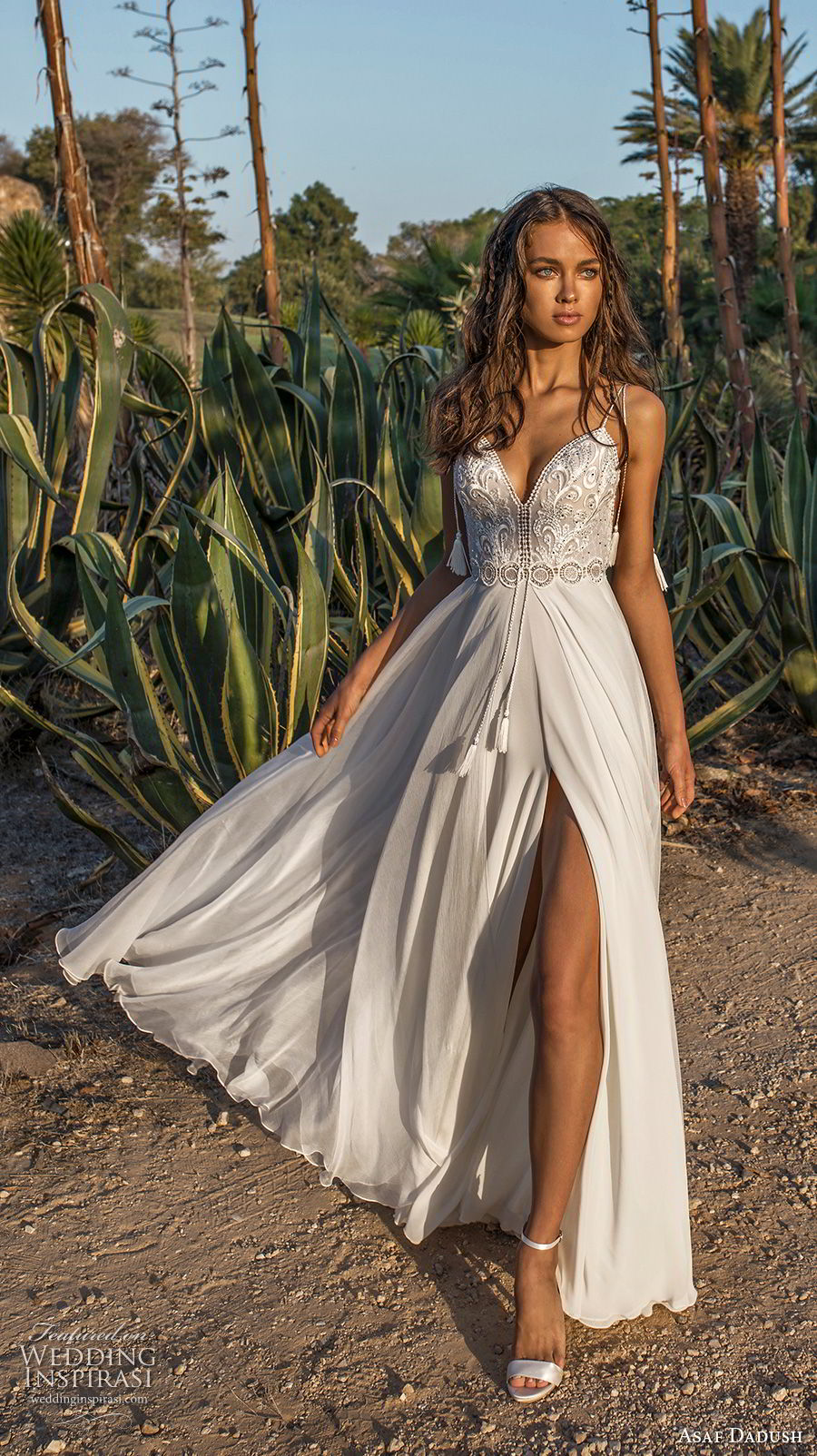 asaf dadush 2018 bridal spaghetti strap sweetheart neckline heavily embellished bodice side slit romantic wedding dress open back sweep train (12) mv