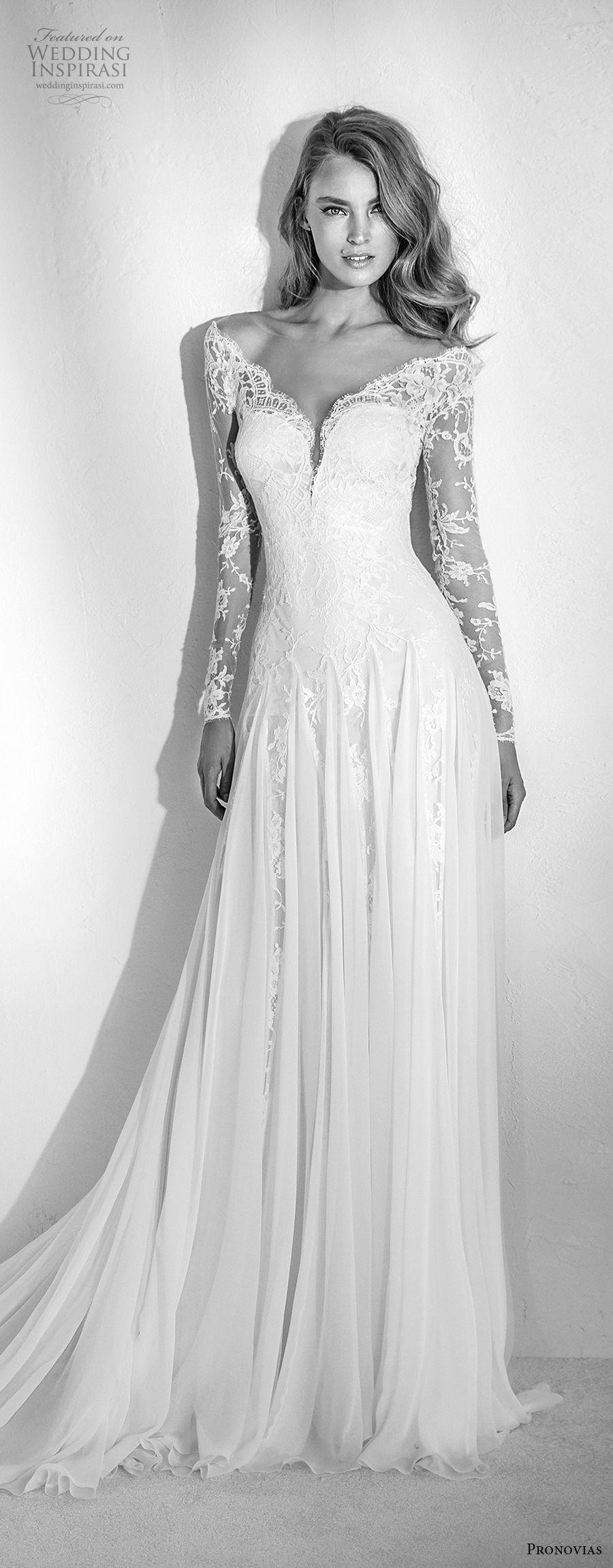 atelier pronovias 2018 bridal long sleeves illusion v sweetheart neckline heavily embellished bodice romantic soft a  line wedding dress lace back chapel train (21) mv