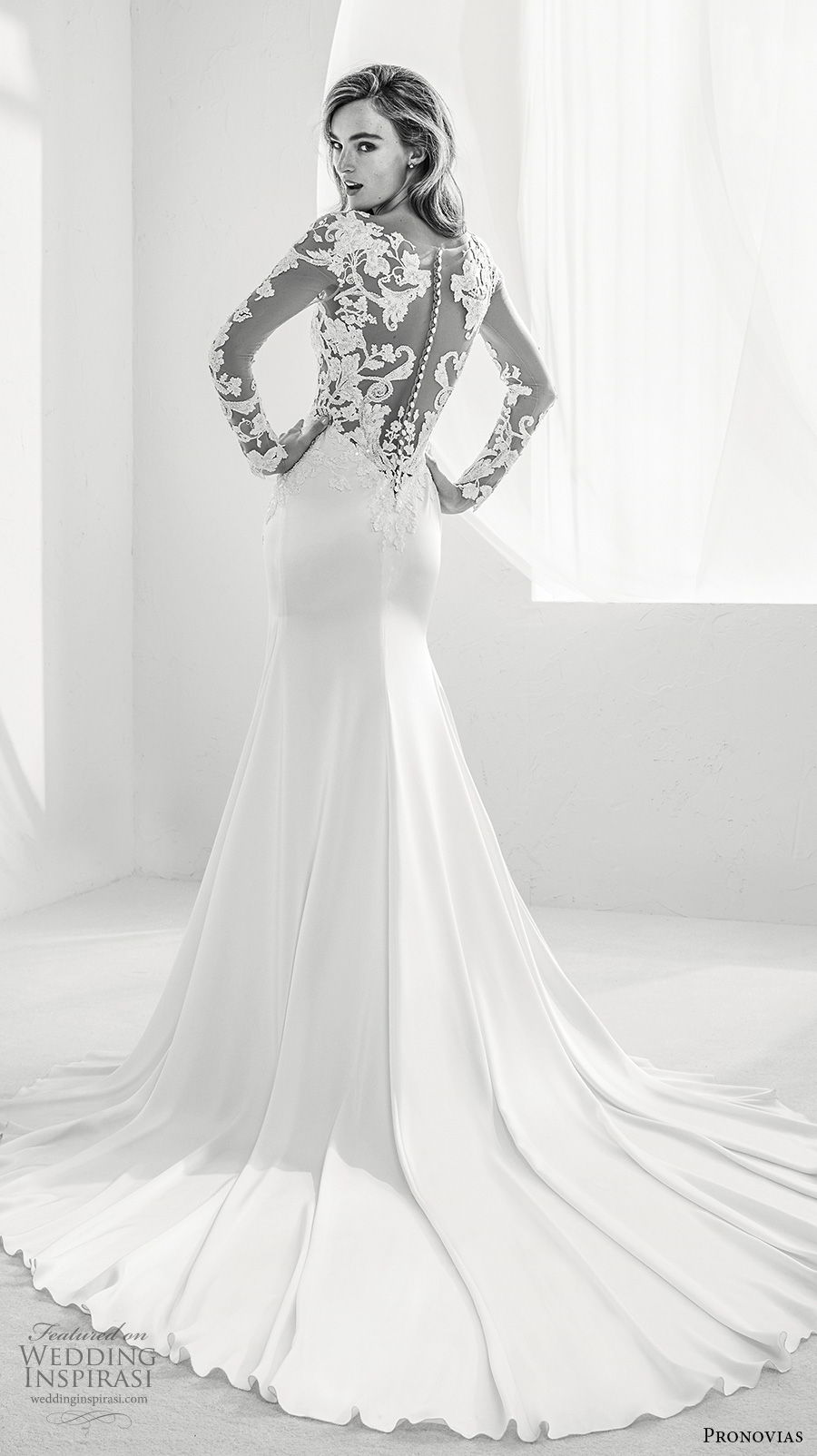atelier pronovias 2018 bridal long sleeves sweetheart neckline heavily embellished bodice side slit elegant a  line wedding dress sheer lace back chapel train (12) bv