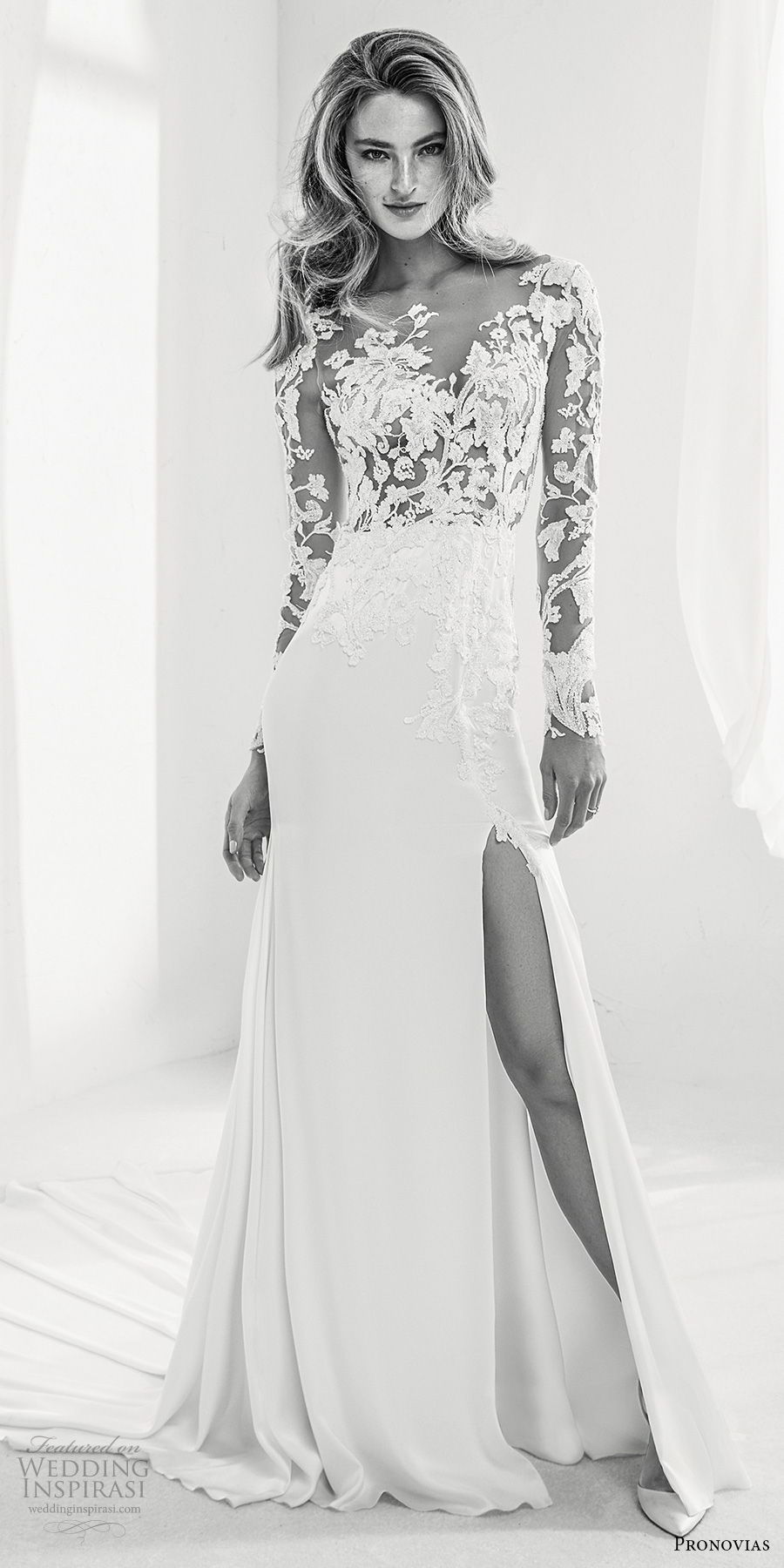 atelier pronovias 2018 bridal long sleeves sweetheart neckline heavily embellished bodice side slit elegant a  line wedding dress sheer lace back chapel train (12) mv