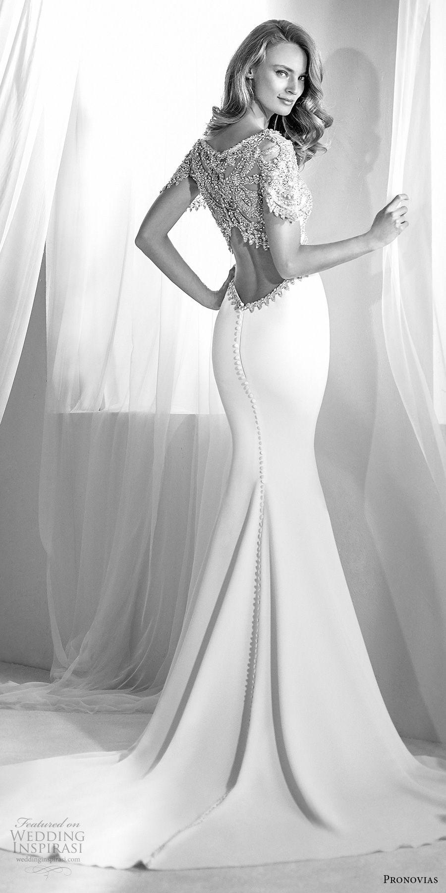 atelier pronovias 2018 bridal short sleeves jewel neck heavily embellished bodice glamorous elegant fit and flare wedding dress embellished back medium train (2) bv