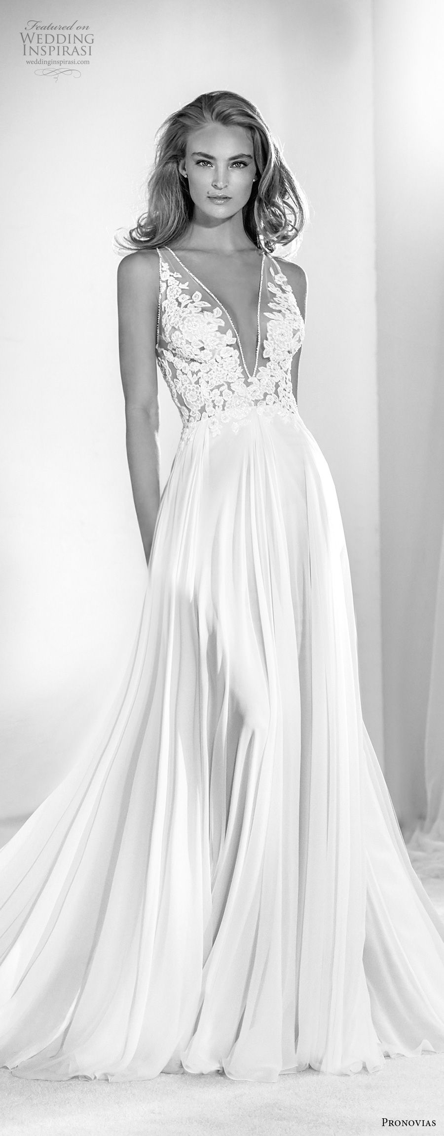 atelier pronovias 2018 bridal sleeveless deep v neck heavily embellished bodice romantic soft a  line wedding dress sheer lace back sweep train (18) mv