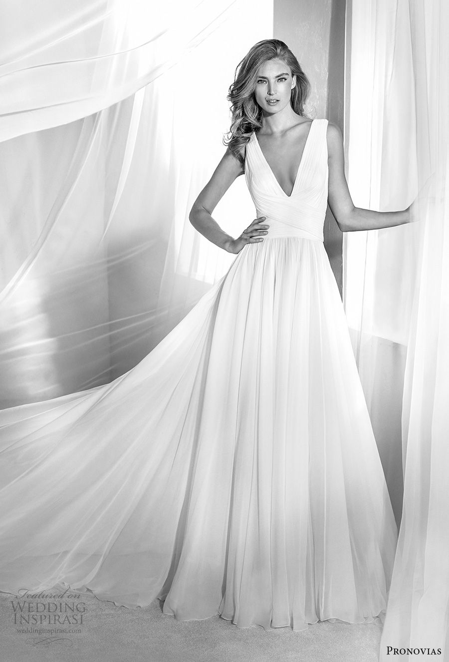 atelier pronovias 2018 bridal sleeveless deep v neckline ruched bodice simple romantic soft a  line wedding dress square back chapel train (16) mv