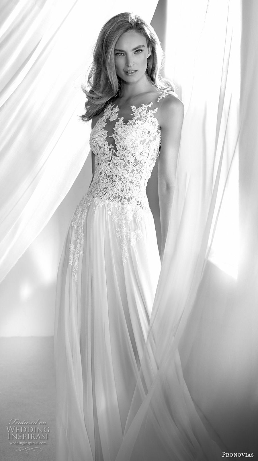 atelier pronovias 2018 bridal sleeveless sweetheart neckline heavily embellished bodice romantic soft a  line wedding dress sheer lace back chapel train (10) zv