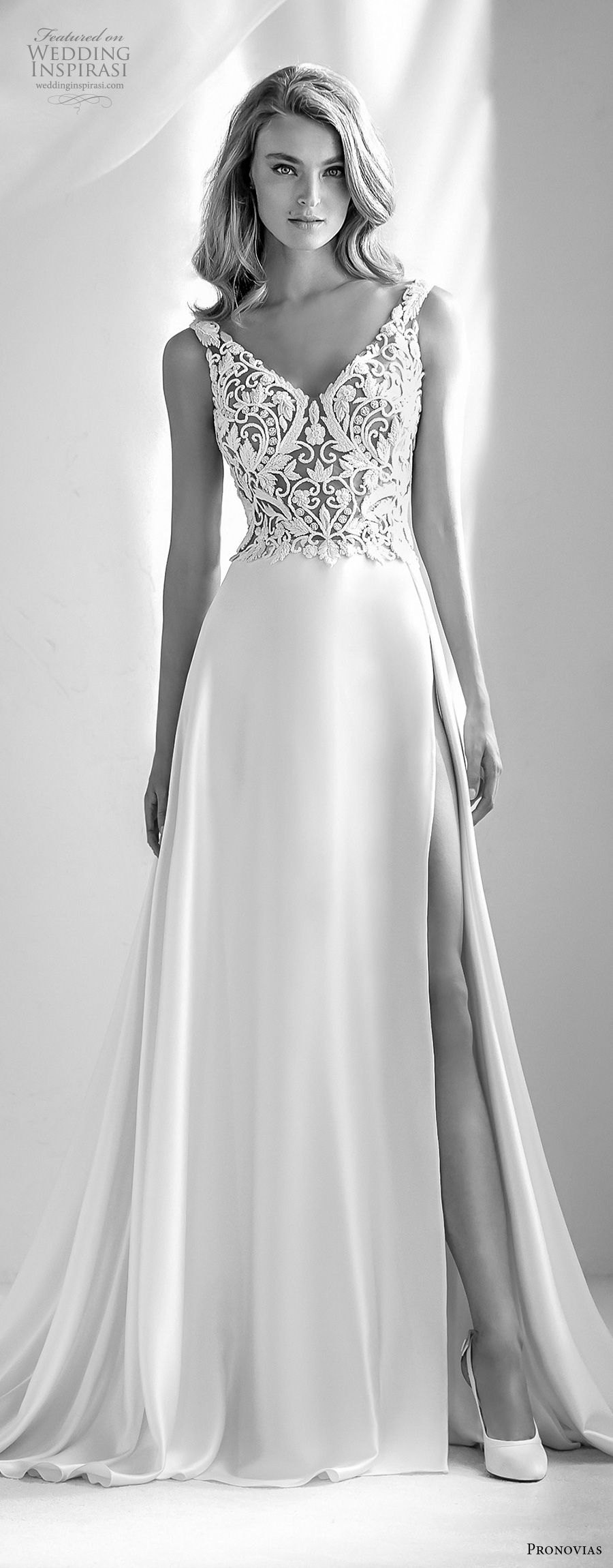 atelier pronovias 2018 bridal sleeveless v neck heavily embellished bodice high side slit elegant a  line wedding dress lace back chapel train (23) mv