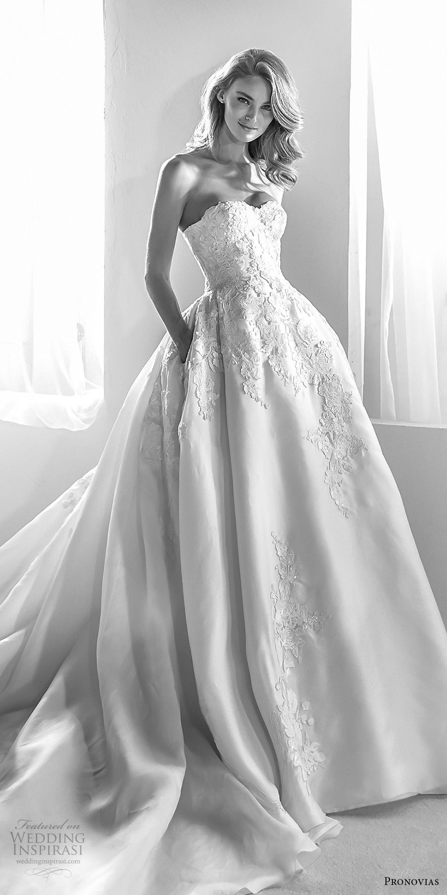 atelier pronovias 2018 bridal strapless semi sweetheart neckline heavily embellished bodice princess ball gown wedding dress with pockets royal train (20) mv