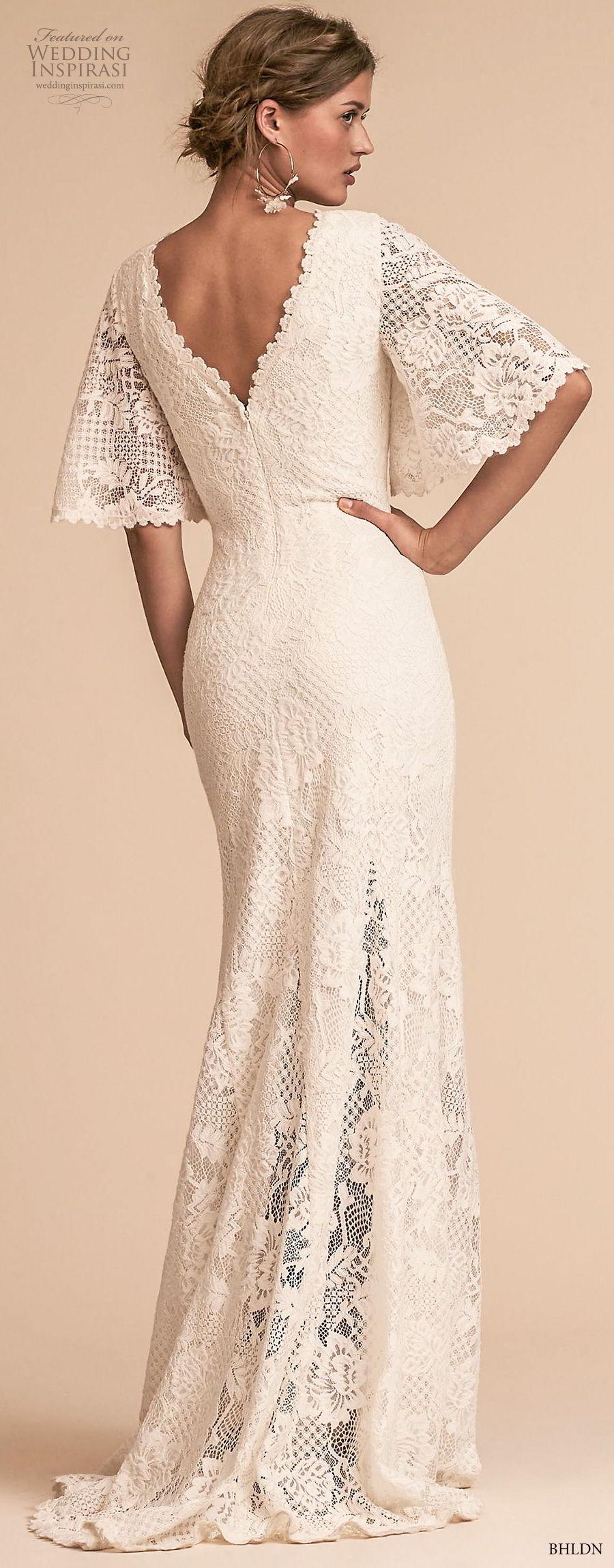 bhldn 2018 away bridal half bell sleeves v neck full embellishment bohemian vintage sheath wedding dress v back sweep train (4) bv