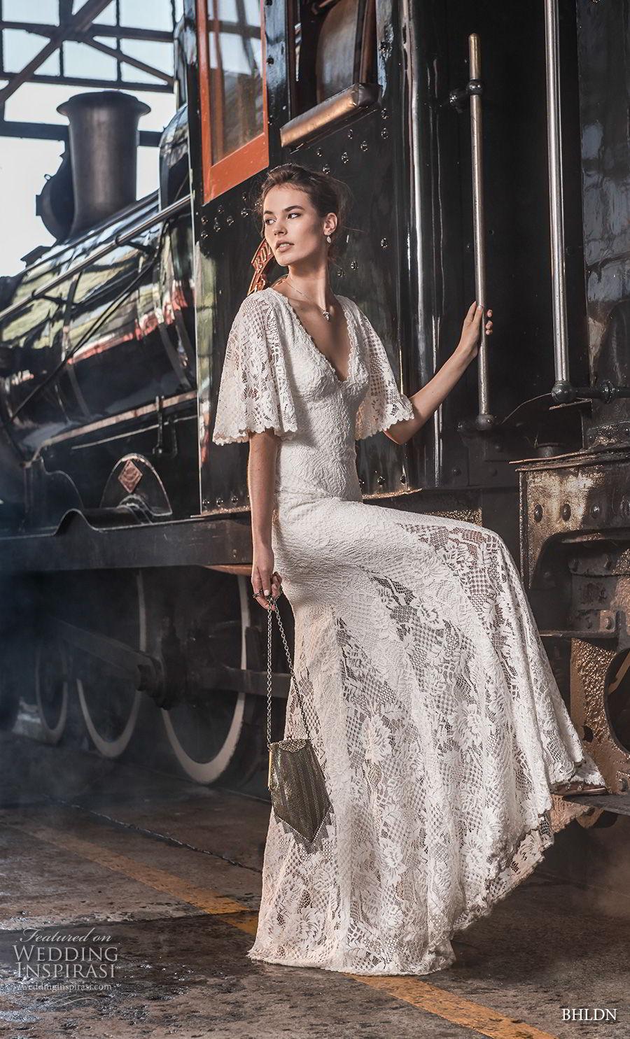 bhldn 2018 away bridal half bell sleeves v neck full embellishment bohemian vintage sheath wedding dress v back sweep train (4) mv
