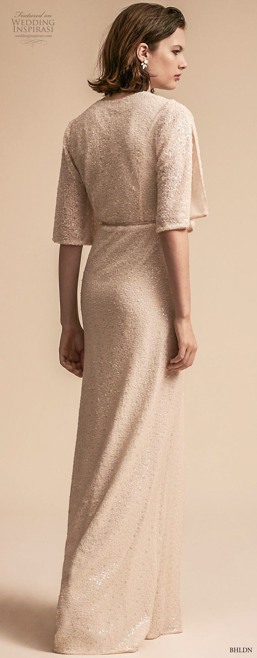 bhldn 2018 away bridal half bell sleeves v neck wrap over bodice elegant vintage slit skirt sheath wedding dress covered back sweep train (6) bv