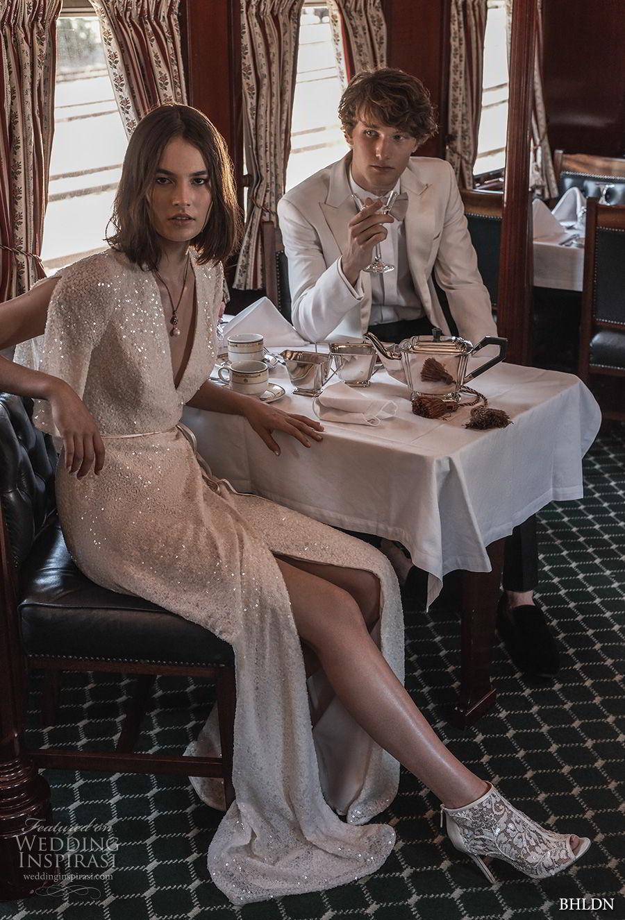 bhldn 2018 away bridal half bell sleeves v neck wrap over bodice elegant vintage slit skirt sheath wedding dress covered back sweep train (6) mv