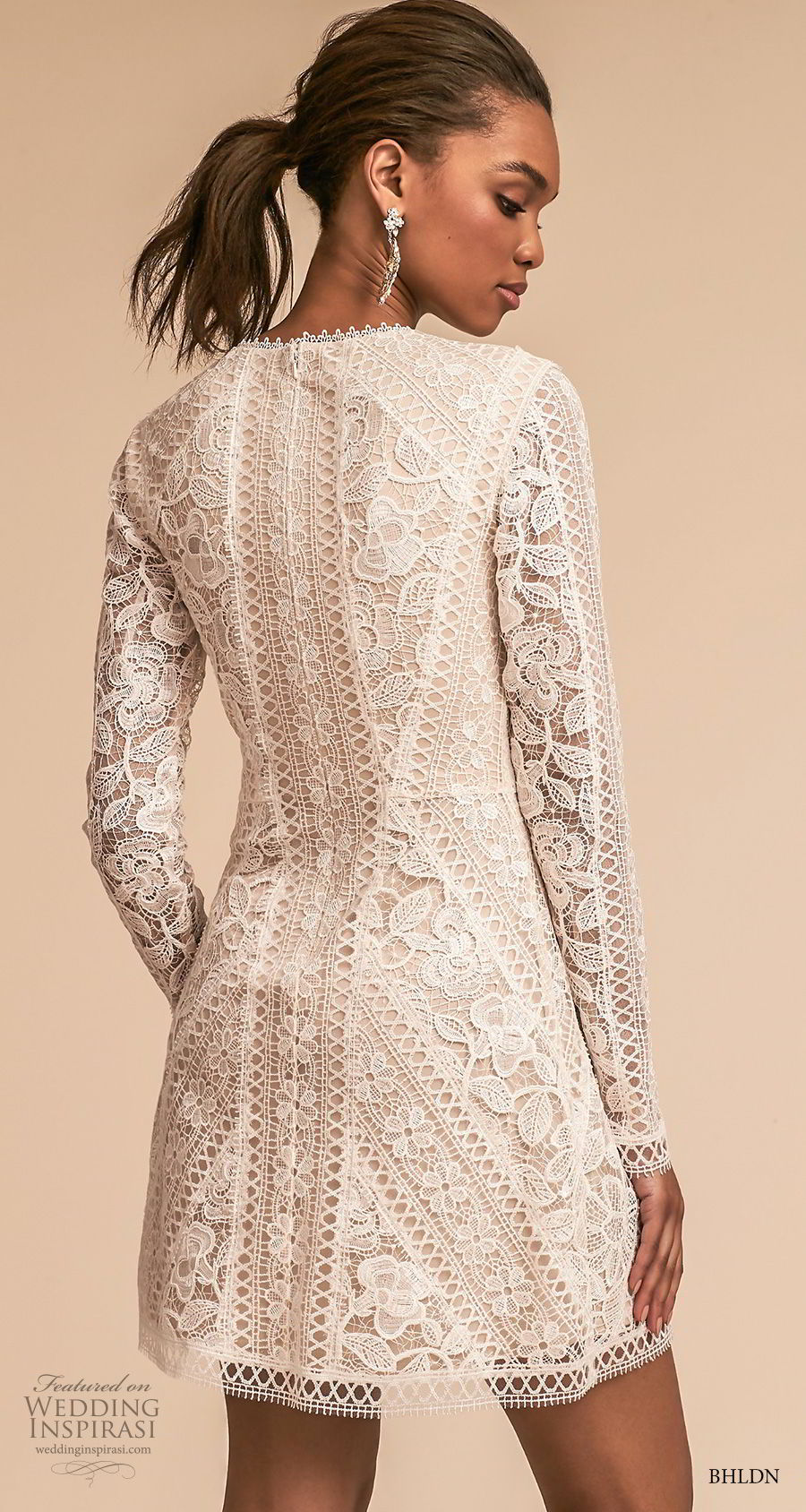 bhldn 2018 away bridal long sleeves jewel neck full embellishment bohemian above the knee short wedding dress covered lace back (1) bv