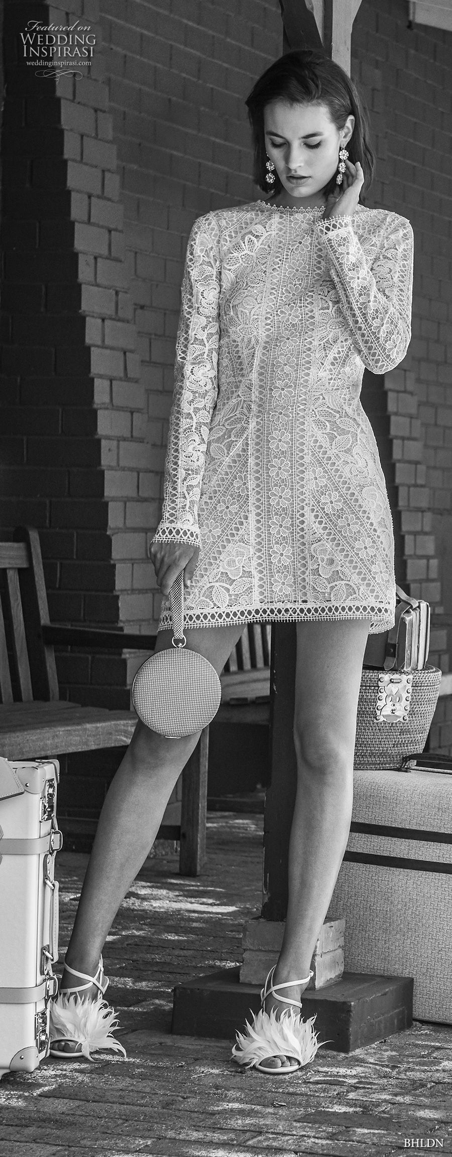 bhldn 2018 away bridal long sleeves jewel neck full embellishment bohemian above the knee short wedding dress covered lace back (1) mv