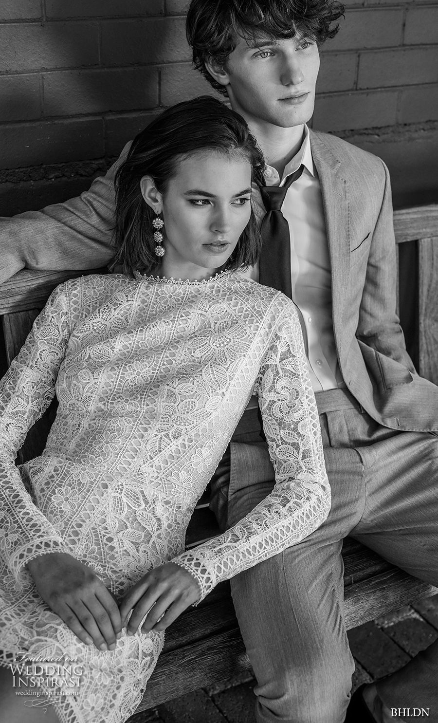 bhldn 2018 away bridal long sleeves jewel neck full embellishment bohemian above the knee short wedding dress covered lace back (1) zv