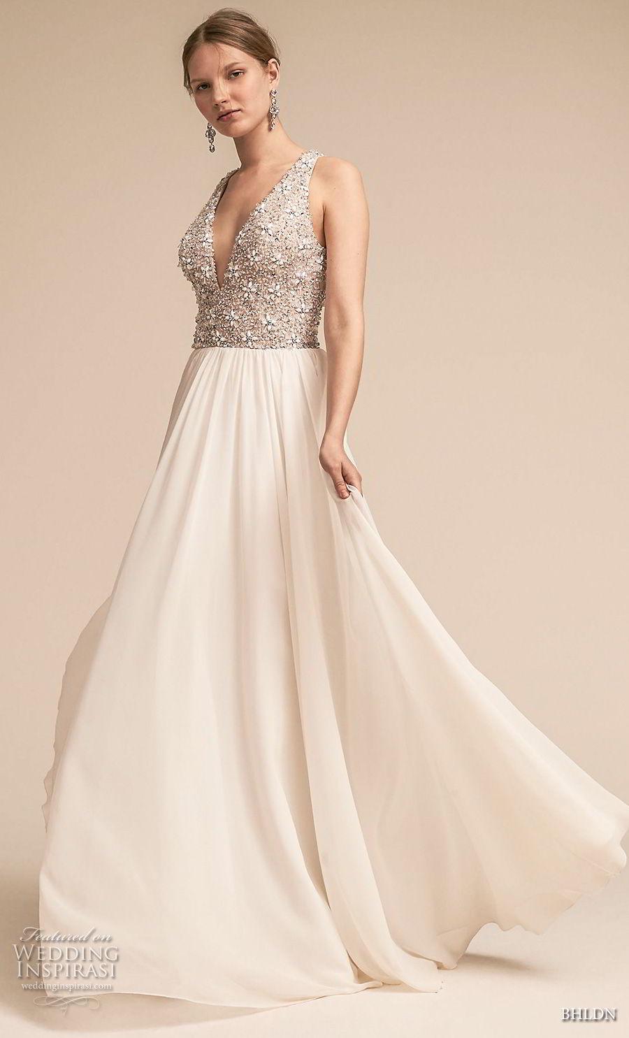 bhldn 2018 away bridal sleeveless deep v neck heavily embellished bodice romantic glamorous soft a  line wedding dress covered back sweep train (5) mv