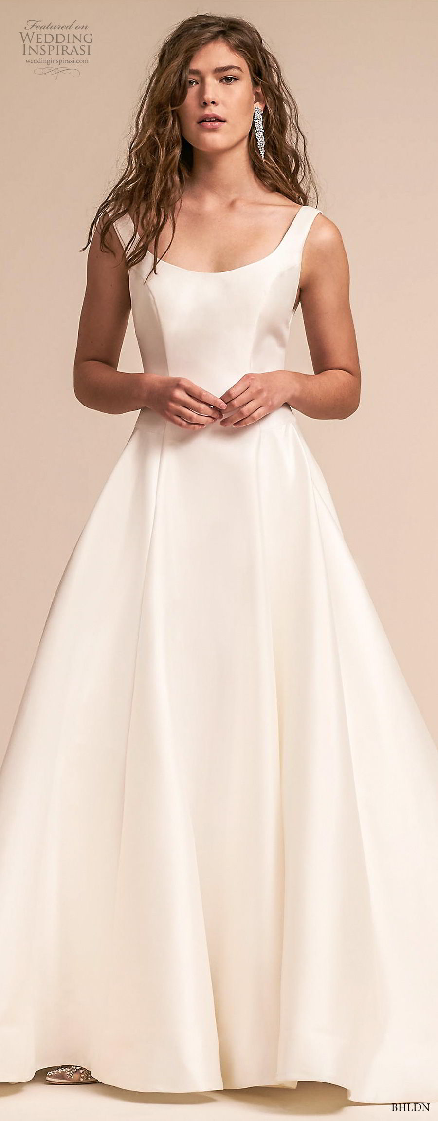 bhldn 2018 away bridal sleeveless scoop neckline simple clean bodice satin skirt classic ball gown a  line wedding dress scoop back chapel train (3) mv lv