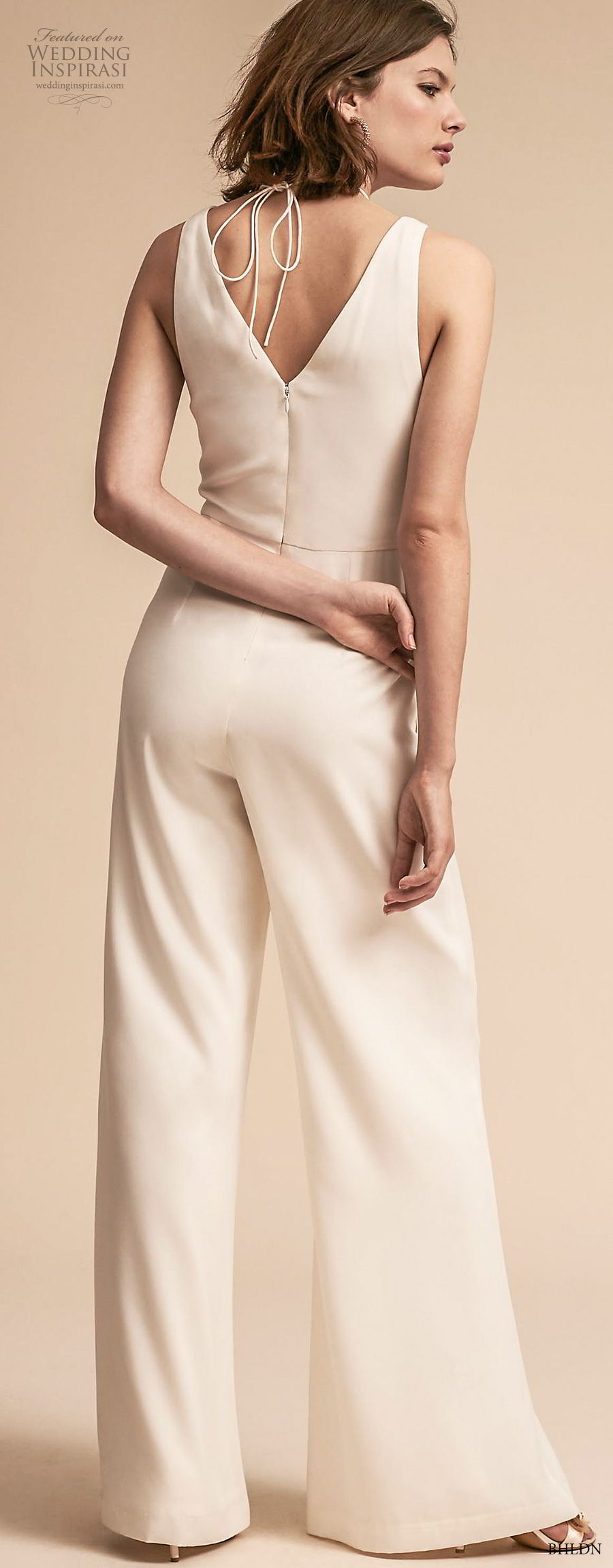 bhldn 2018 away bridal sleeveless v neck simple clean modern sophiscated jumpsuit wedding dress v back (8)  bv