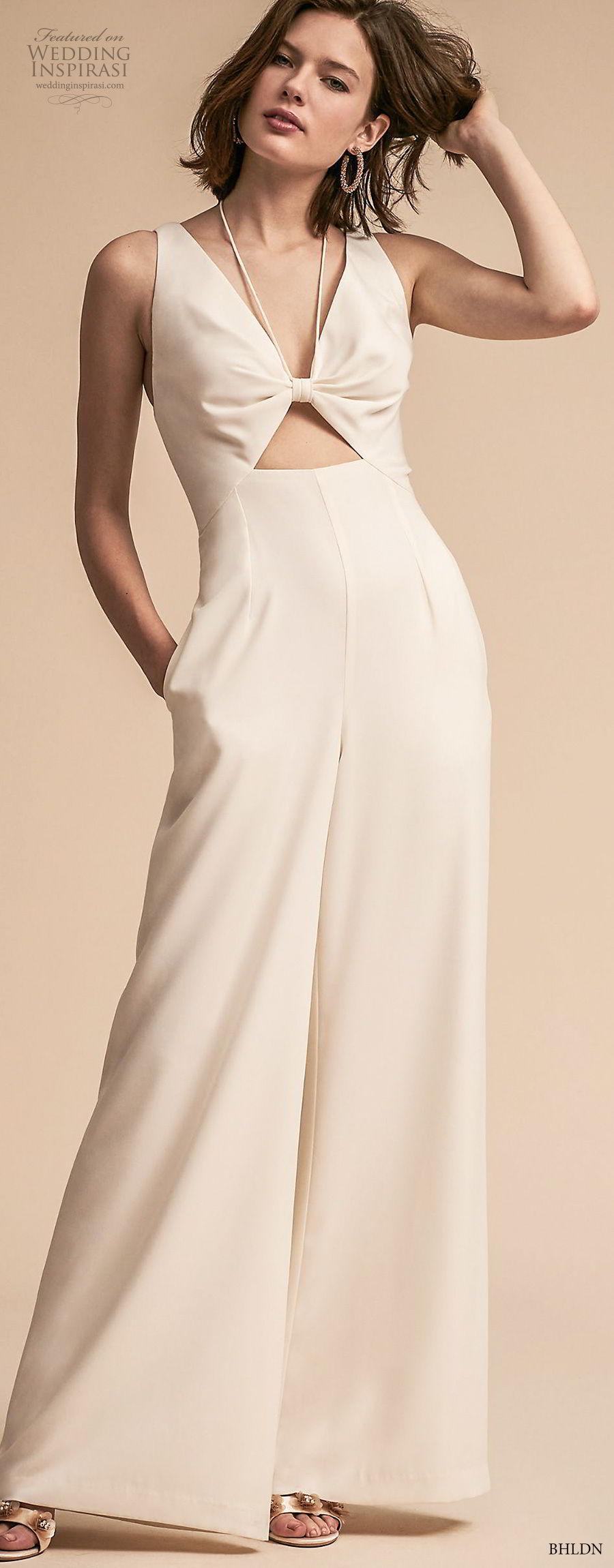 bhldn 2018 away bridal sleeveless v neck simple clean modern sophiscated jumpsuit wedding dress v back (8) mv lv