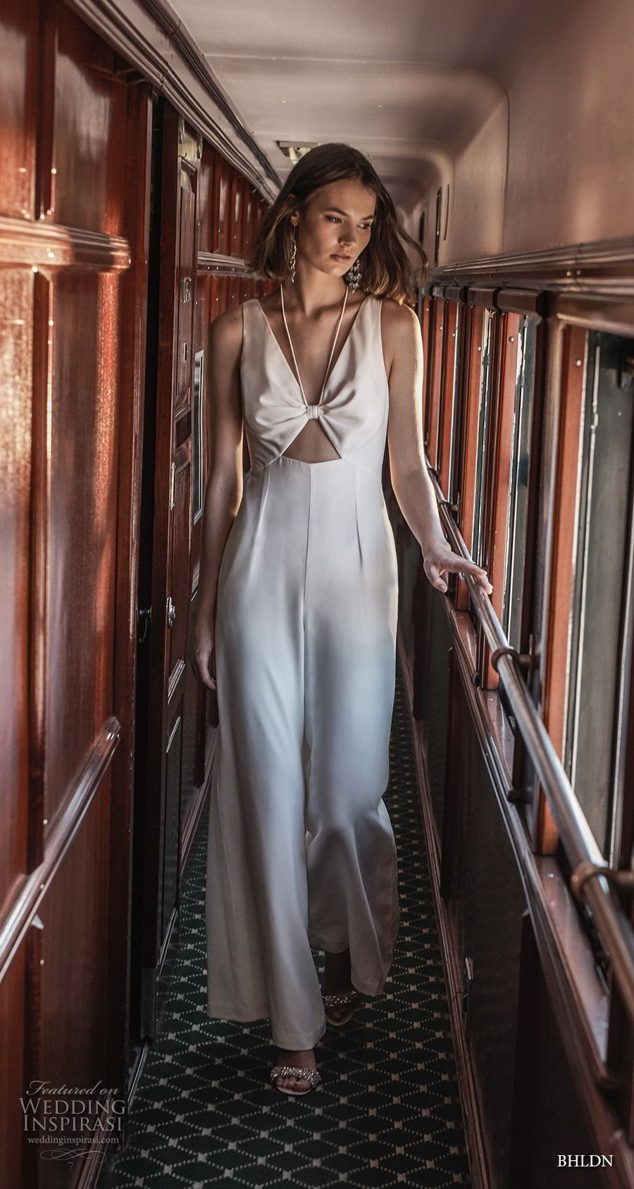 bhldn 2018 away bridal sleeveless v neck simple clean modern sophiscated jumpsuit wedding dress v back (8) mv