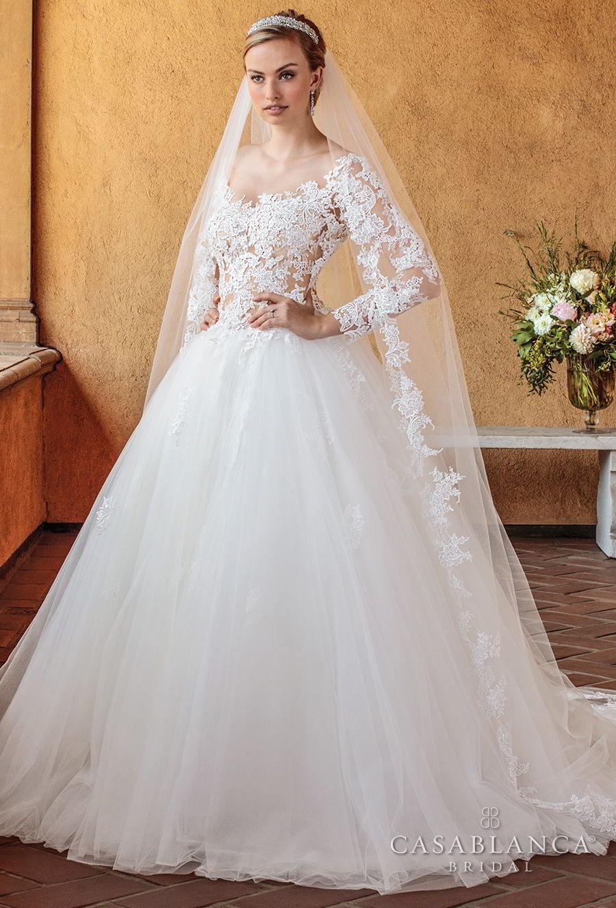 casablanca spring 2018 long sleeves scoop neckline heavily embellished bodice romantic ball gown a  line wedding dress open scoop back chapel train (elsie) mv