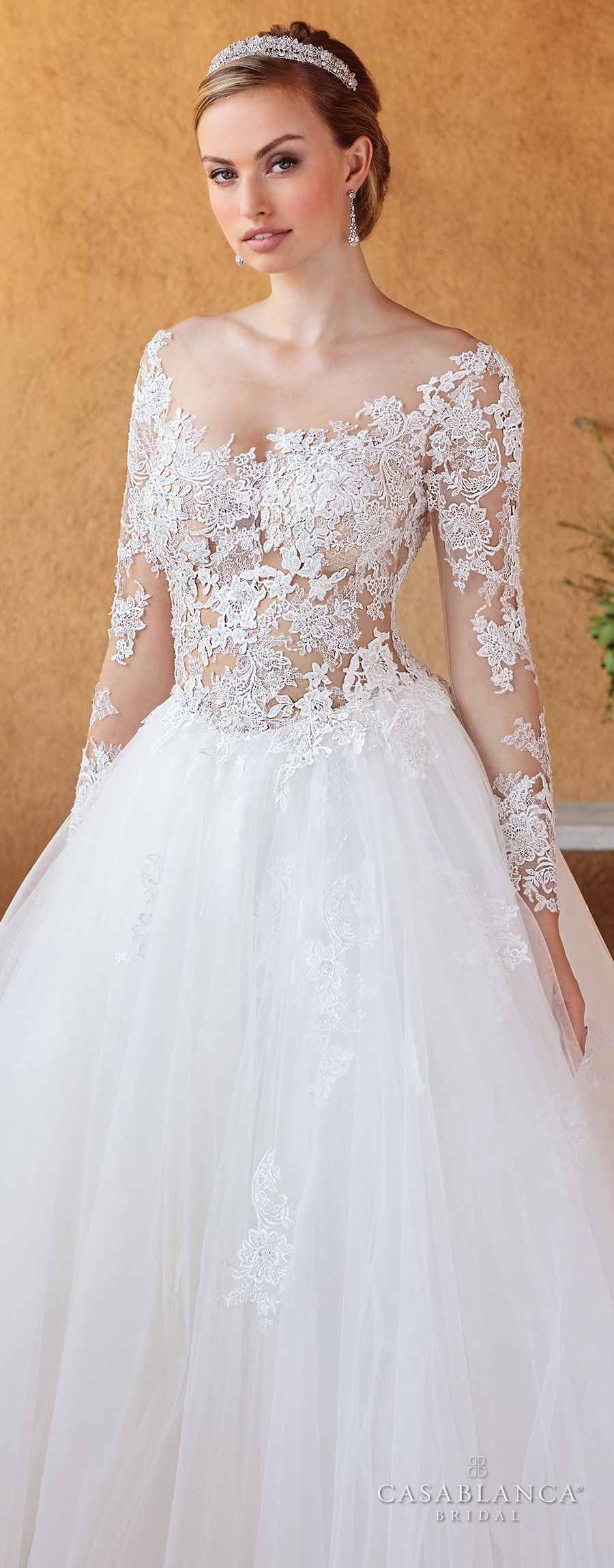 casablanca spring 2018 long sleeves scoop neckline heavily embellished bodice romantic ball gown a  line wedding dress open scoop back chapel train (elsie) zv