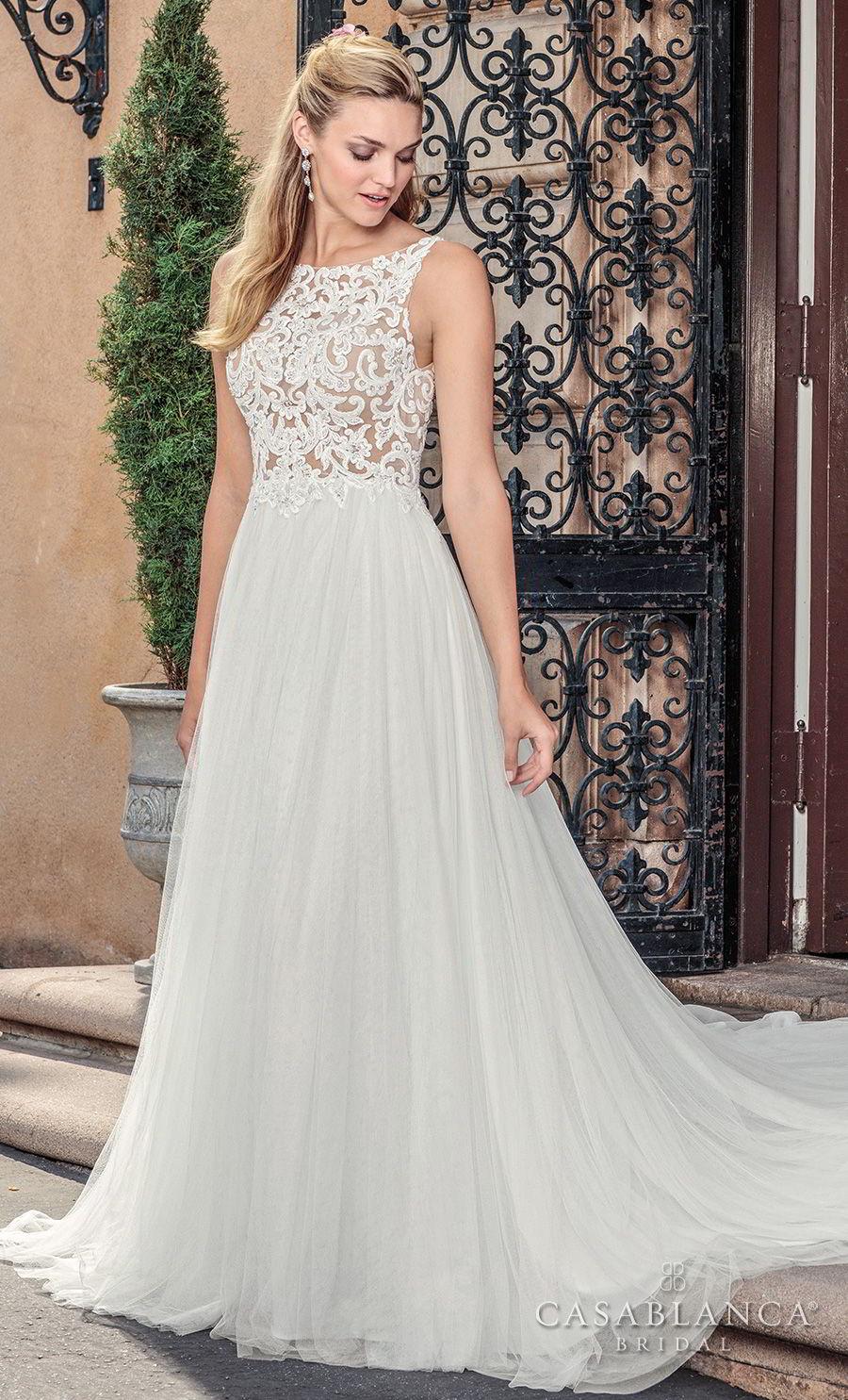 casablanca spring 2018 sleeveless bateau neck heavily embellished bodice romantic soft a  line wedding dress covered lace back medium train (della) mv