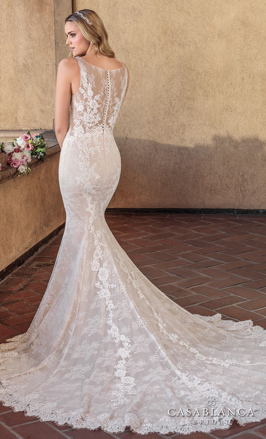 casablanca spring 2018 sleeveless deep v neck full embellishment elegant fit and flare wedding dress sheer lace back chapel train (chloe) bv