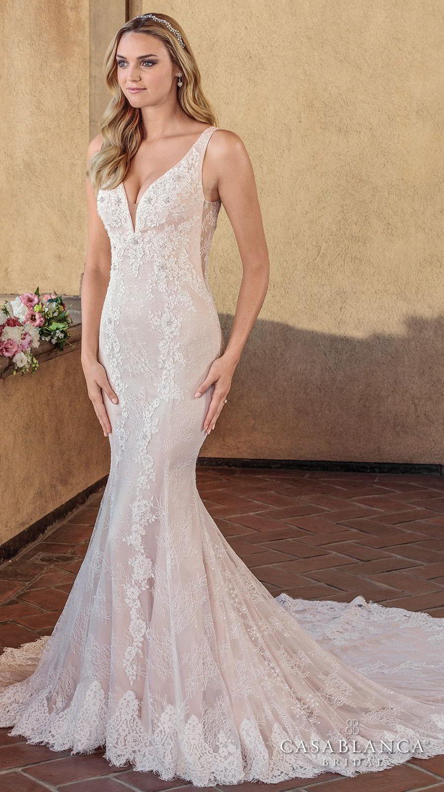 casablanca spring 2018 sleeveless deep v neck full embellishment elegant fit and flare wedding dress sheer lace back chapel train (chloe) mv