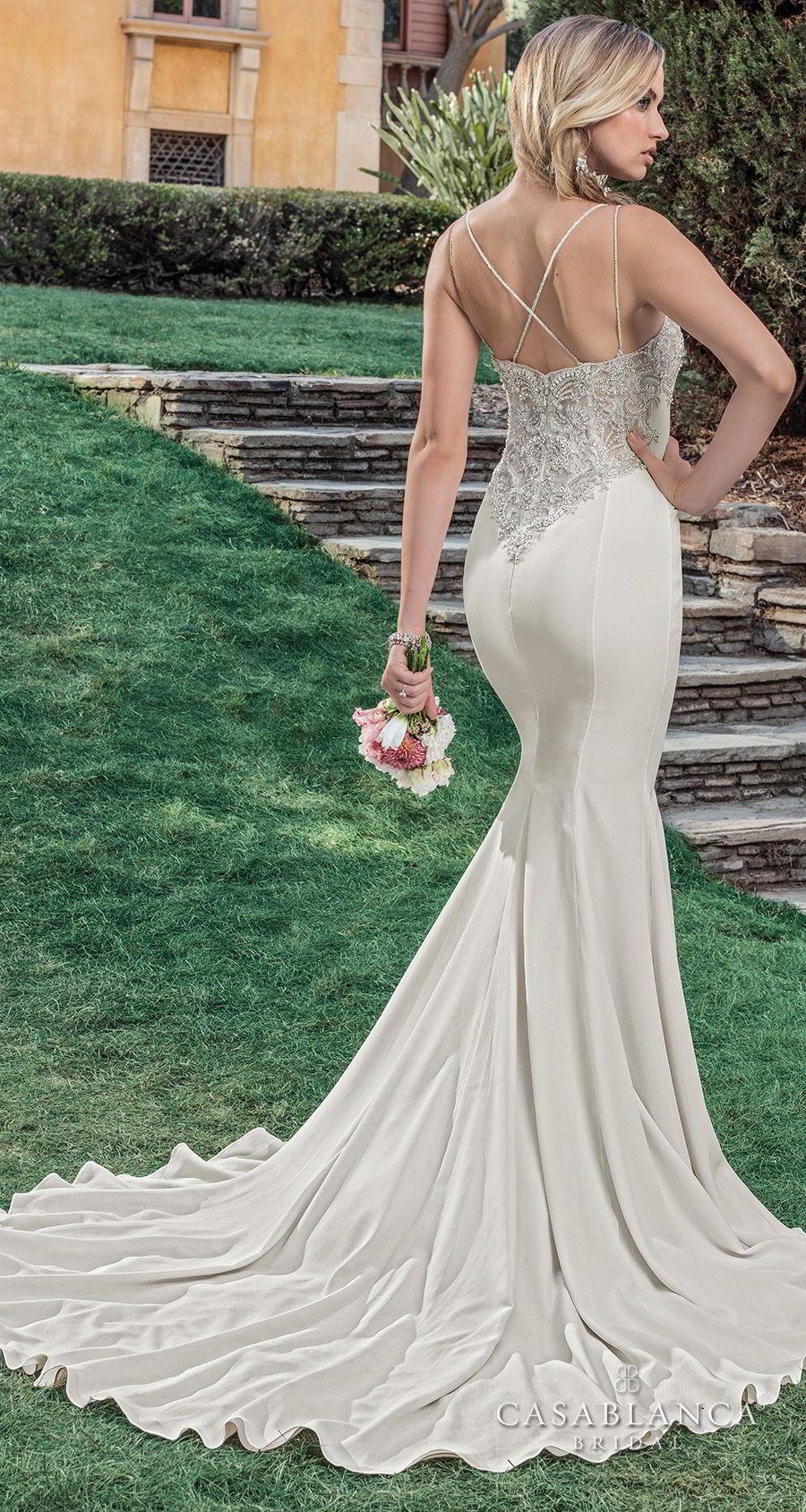 casablanca spring 2018 sleeveless strap deep v neck heavily embellished bodice elegant mermaid wedding dress strap back sweep train (lana) bv