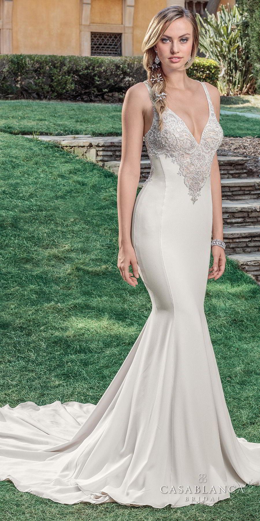 casablanca spring 2018 sleeveless strap deep v neck heavily embellished bodice elegant mermaid wedding dress strap back sweep train (lana) mv