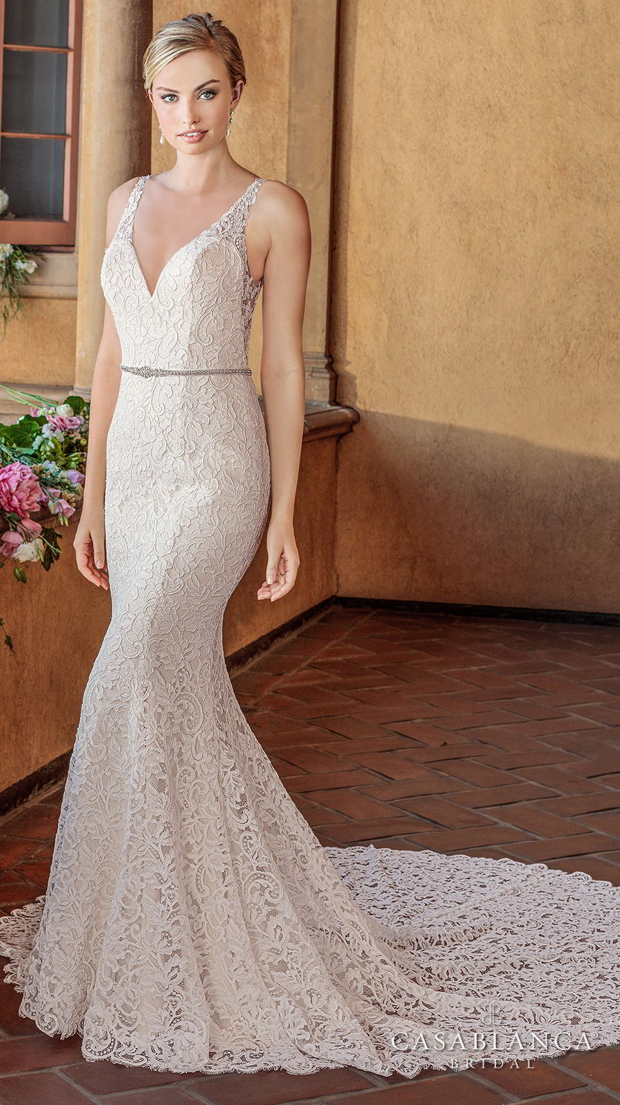 casablanca spring 2018 sleeveless strap sweetheart neckline full embellishment elegant fit and flare wedding dress open scoop back chapel train (nikki) mv