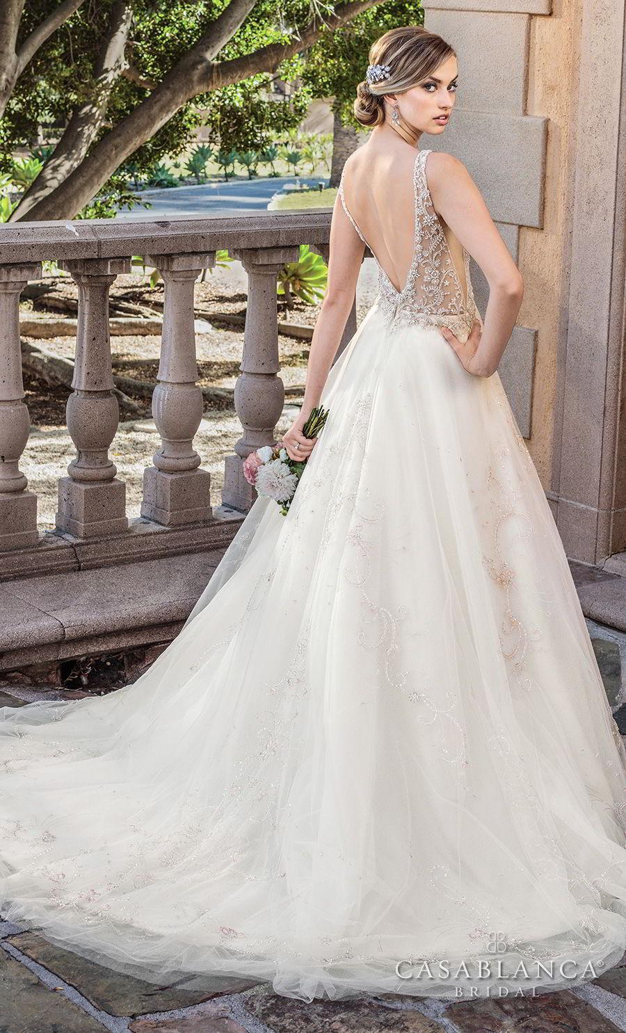 casablanca spring 2018 sleeveless strap v neck heavily embellished bodice romantic glamorous a  line wedding dress open back medium train (sable) bv