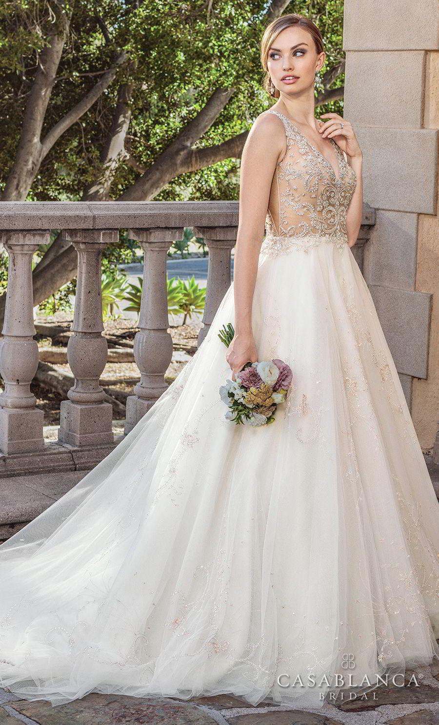 casablanca spring 2018 sleeveless strap v neck heavily embellished bodice romantic glamorous a  line wedding dress open back medium train (sable) mv