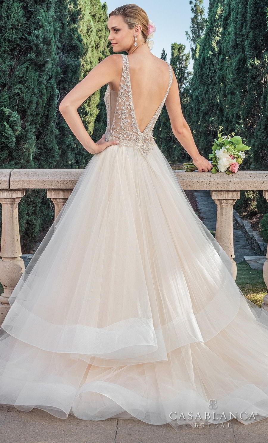 casablanca spring 2018 sleeveless v neck heavily embellished bodice side open layerd skirt romantic a  line wedding dress open v back medium train (tori) bv