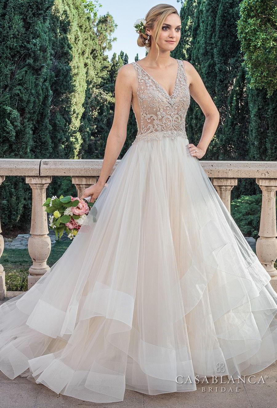 casablanca spring 2018 sleeveless v neck heavily embellished bodice side open layerd skirt romantic a  line wedding dress open v back medium train (tori) mv