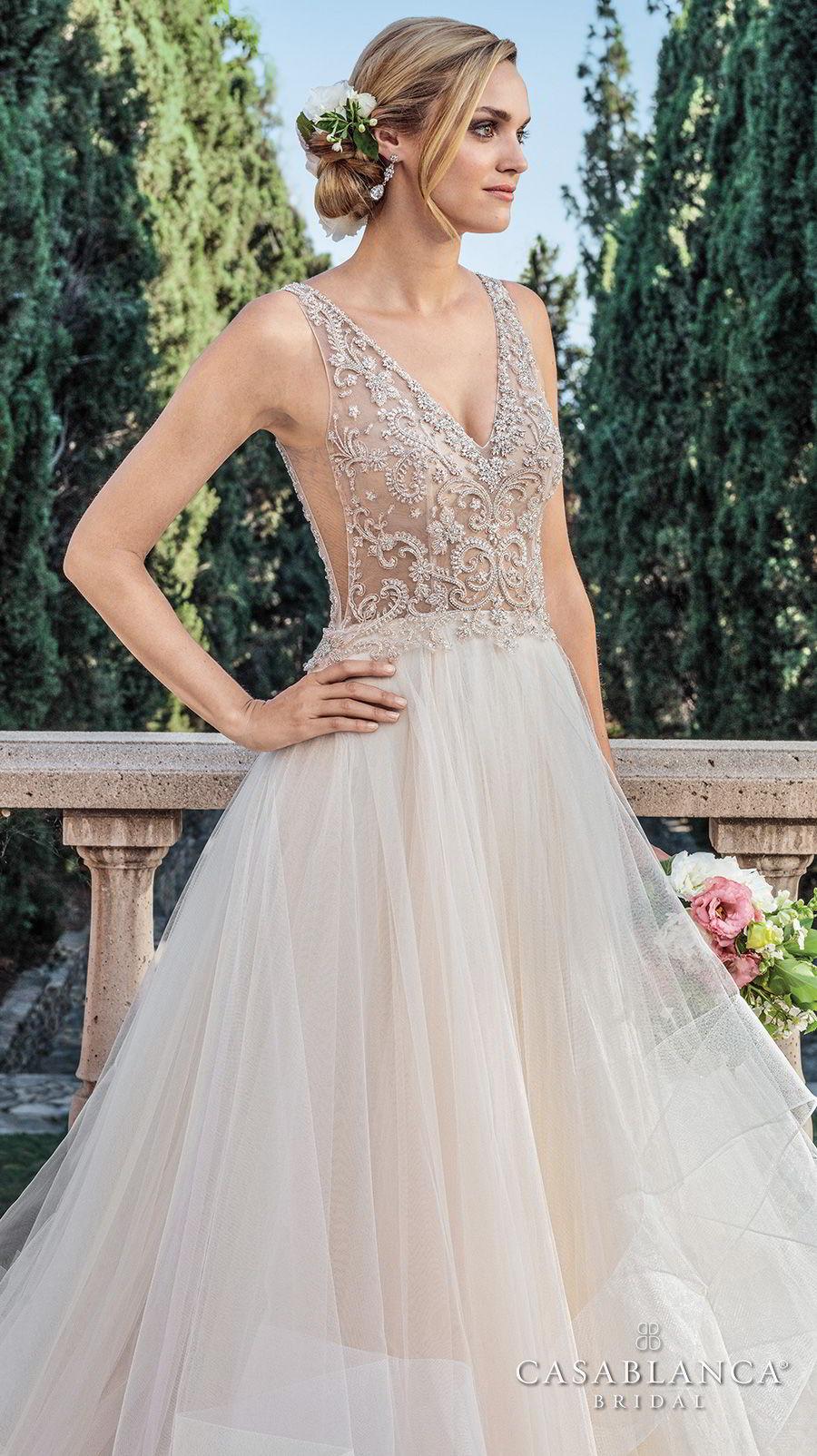 casablanca spring 2018 sleeveless v neck heavily embellished bodice side open layerd skirt romantic a  line wedding dress open v back medium train (tori) zv