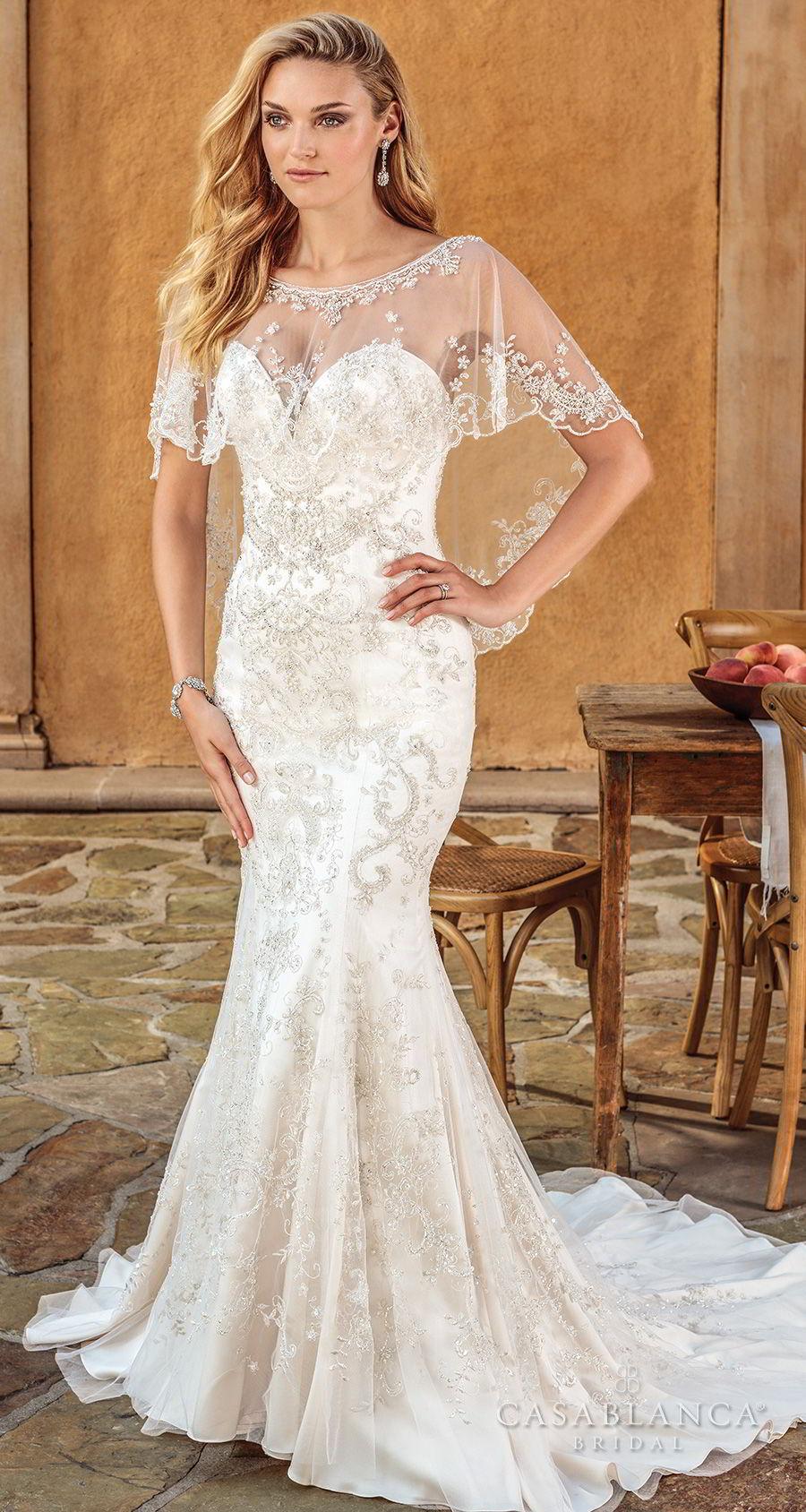 casablanca spring 2018 strapless sweetheart neckline full embellishment elegant fit and flare wedding dress capelet medium train (haven) mv