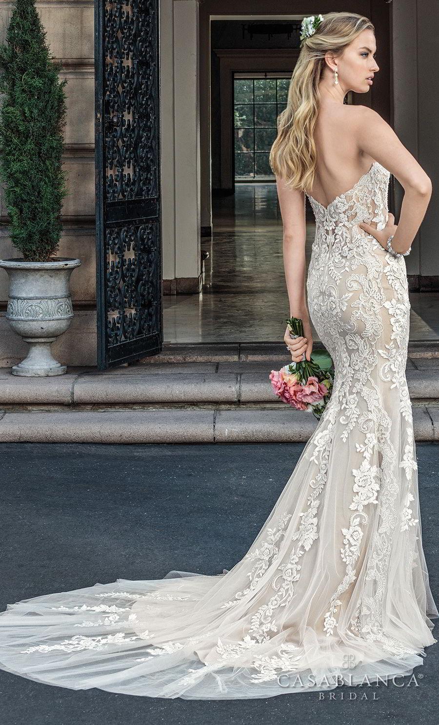 casablanca spring 2018 strapless sweetheart neckline full embellishment elegant fit and flare wedding dress medium train (maisie) bv
