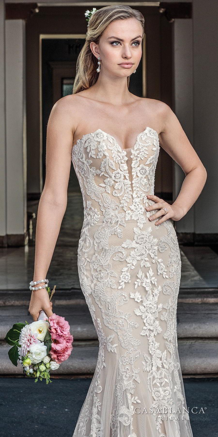 casablanca spring 2018 strapless sweetheart neckline full embellishment elegant fit and flare wedding dress medium train (maisie) zv