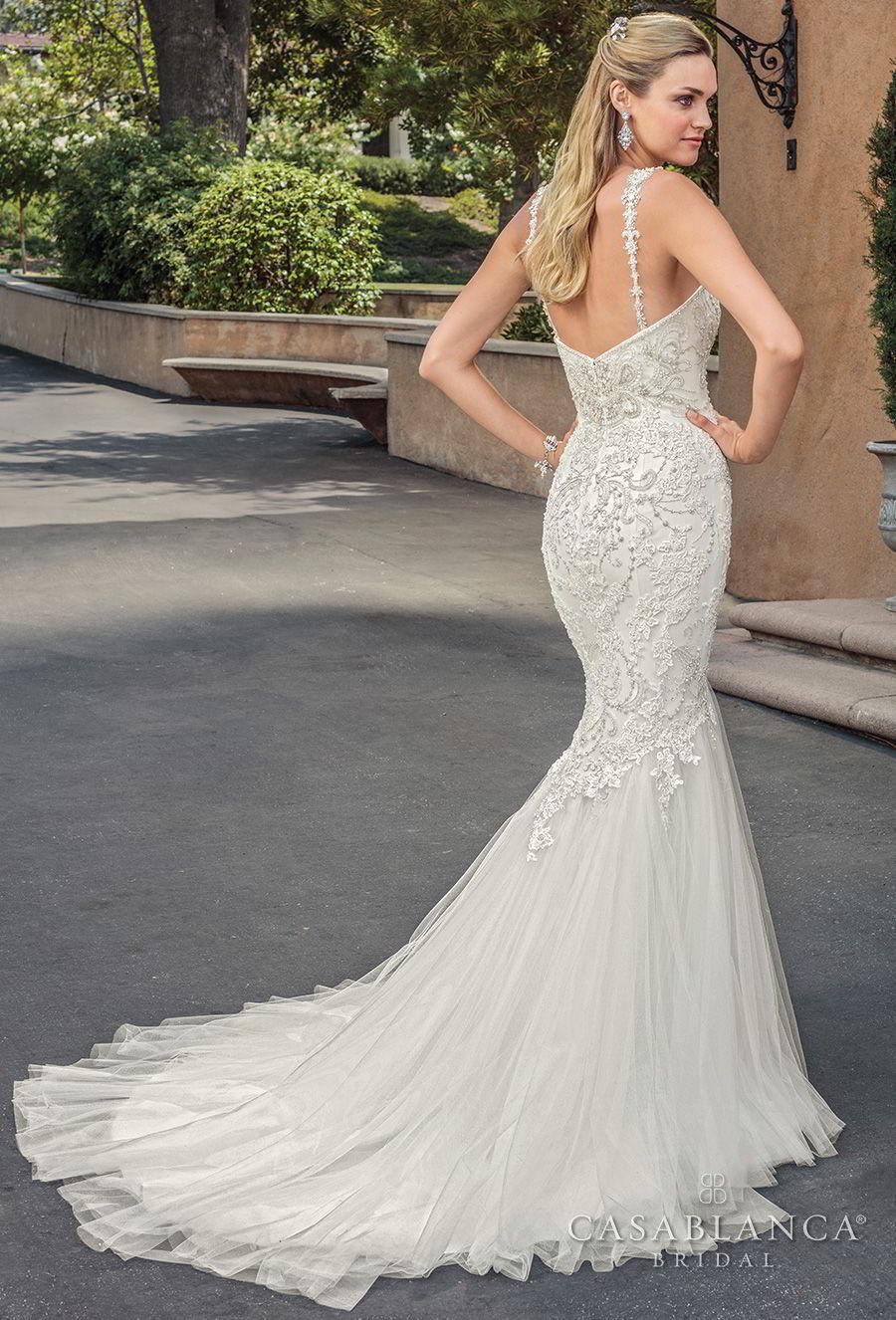 casablanca spring 2018 thin strap sweetheart neckline heavily embellished bodice elegant mermaid wedding dress medium train (paige) bv