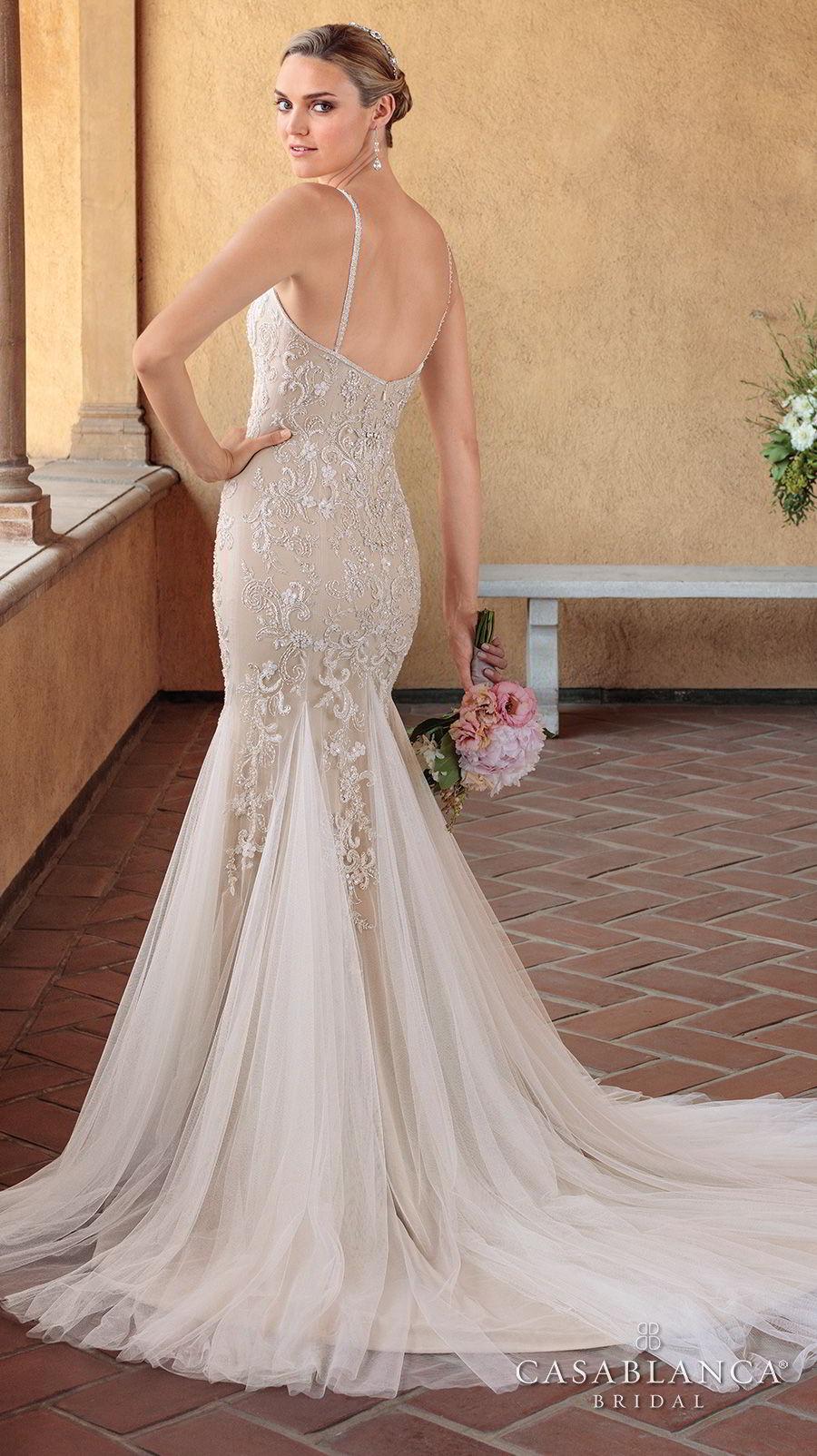 casablanca spring 2018 thin strap sweetheart neckline heavily embellished bodice elegant mermaid wedding dress short train (pixie) bv