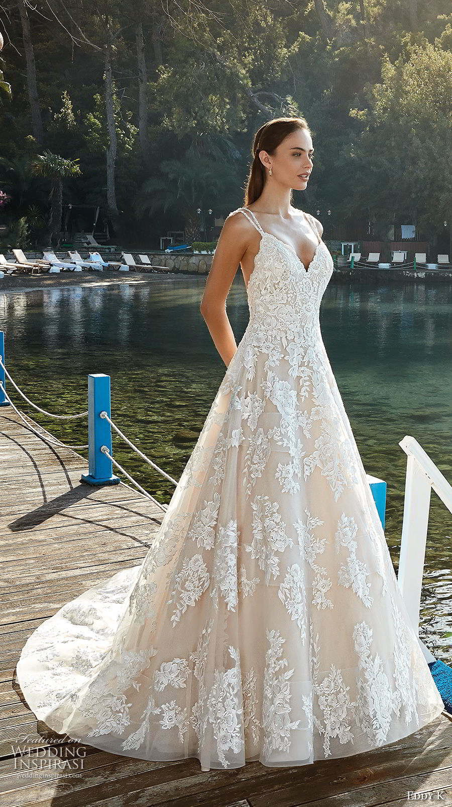eddy k 2018 bridal double strap sweetheart neckline full embellishment romantic a  line wedding dress open back chapel train (16) mv