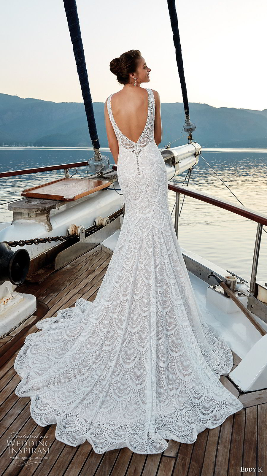 eddy k 2018 bridal sleeveless jewel neck full embellishment elegant trumpet mermaid wedding dress open v back chapel train (3) bv