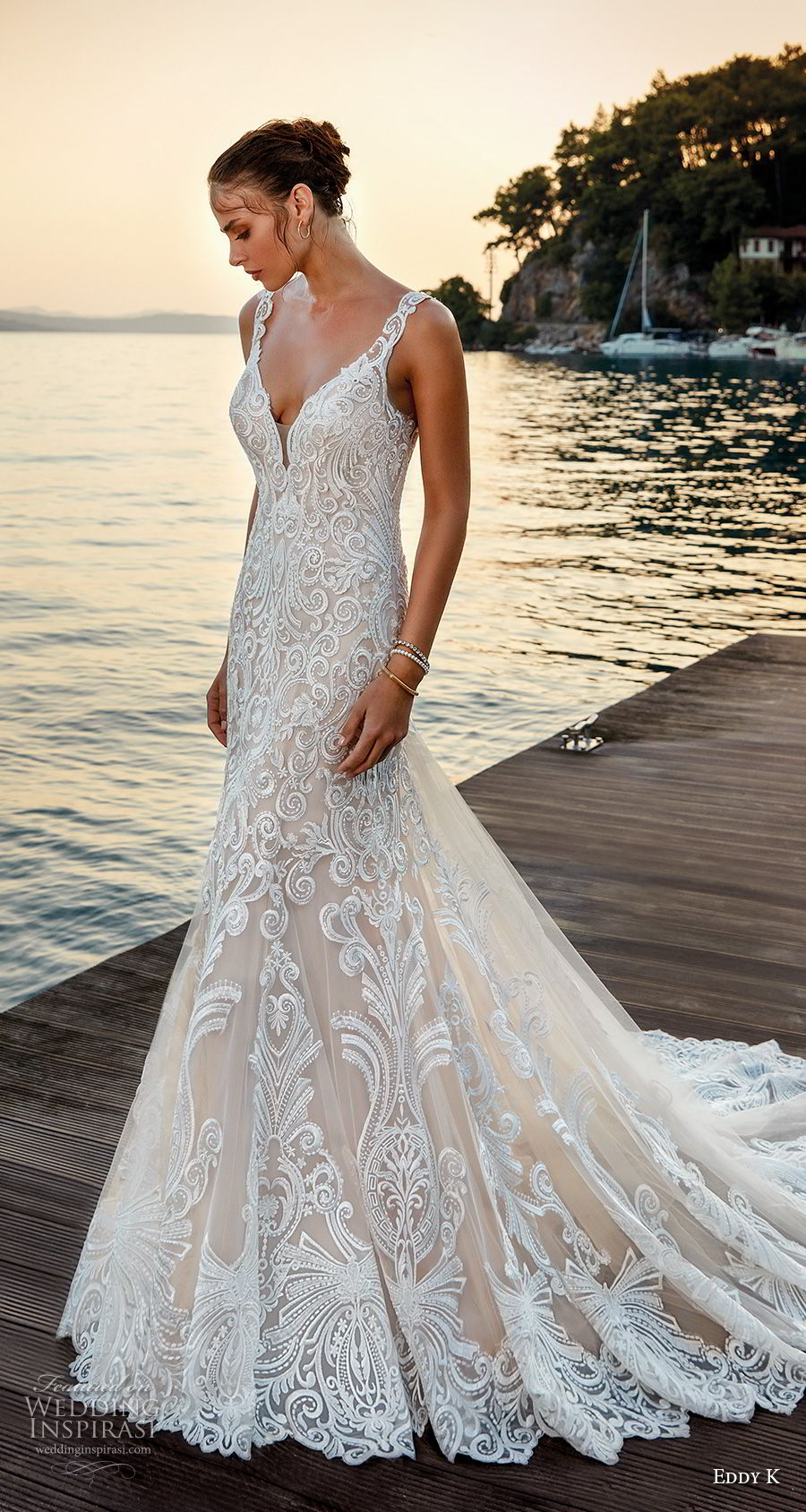 eddy k 2018 bridal sleeveless with strap v neck full embellishment elegant trumpet wedding dress sheer lace back chapel train (27) mv