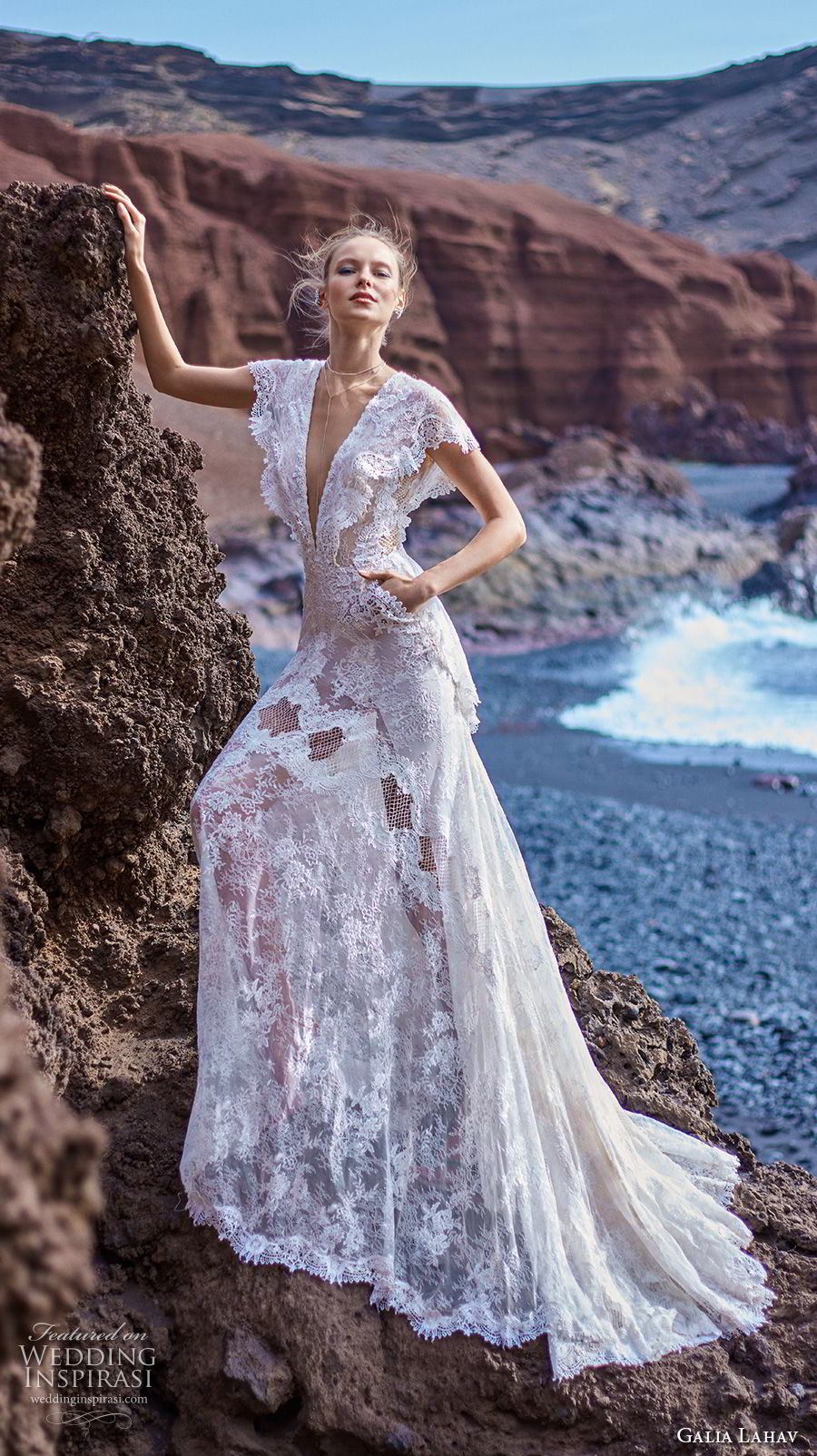 galia lahav gala 2018 bridal butterfly sleeves deep v neck full embellishment bohemian lace a  line wedding dress with pockets open back short train (8) mv
