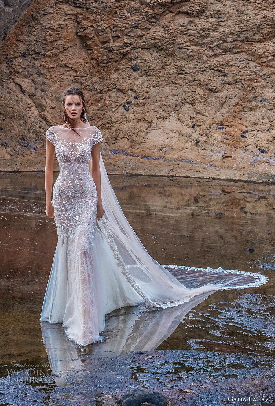 galia lahav gala 2018 bridal cap sleeves illusion bateau neck full embellishment elegant fit and flare wedding dress open back chapel train (6) mv